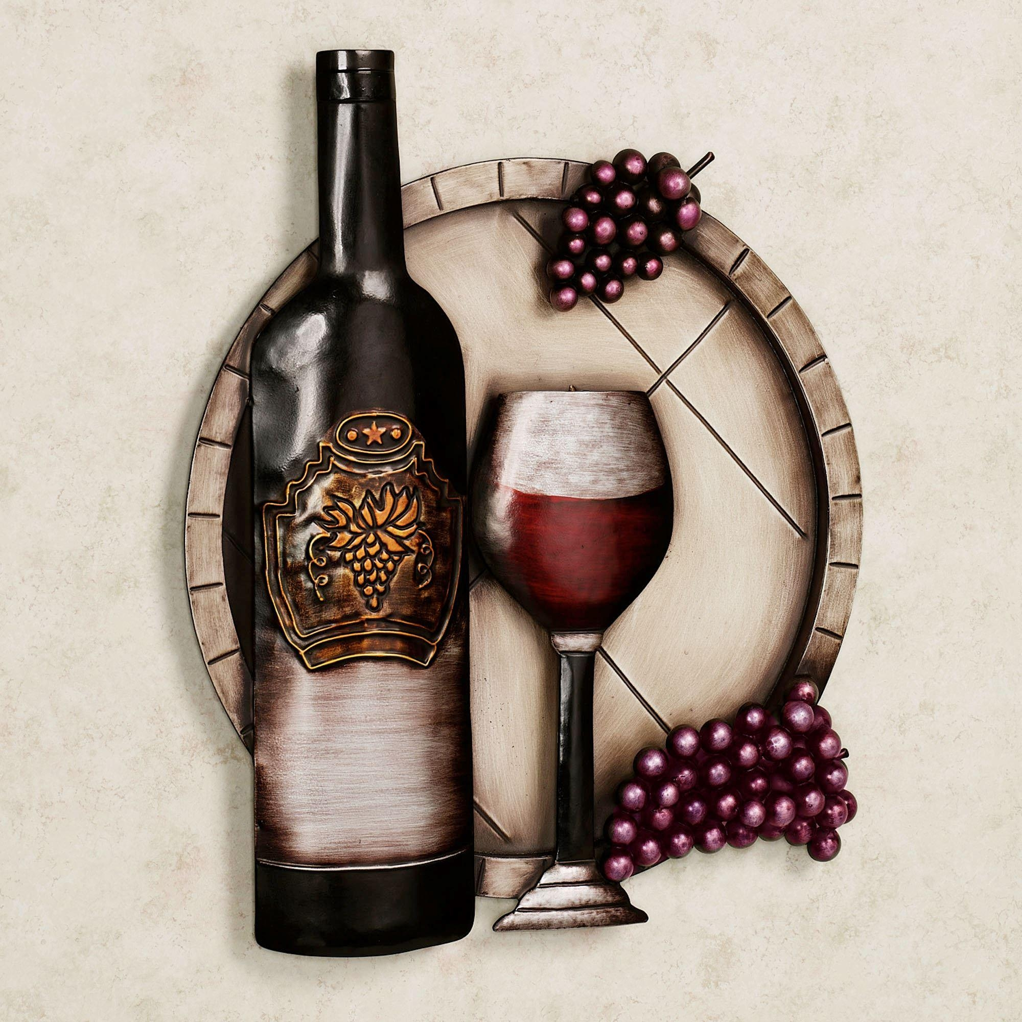 Cellar Reds Wine And Grape Metal Wall Art In Exclusive Wall Art (Image 4 of 20)