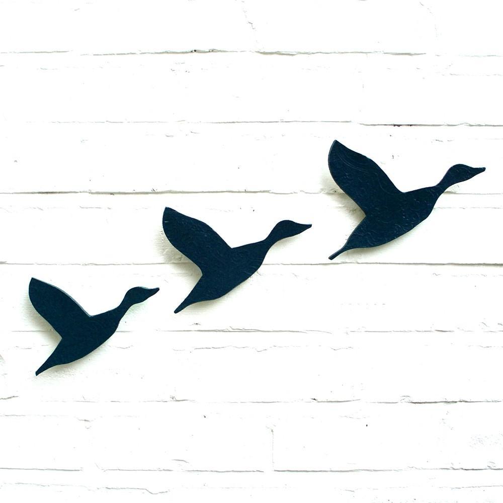 Ceramic Wall Art Flying Ducks Flock In Navy Blue Pottery Bird In Ceramic Bird Wall Art (View 2 of 20)