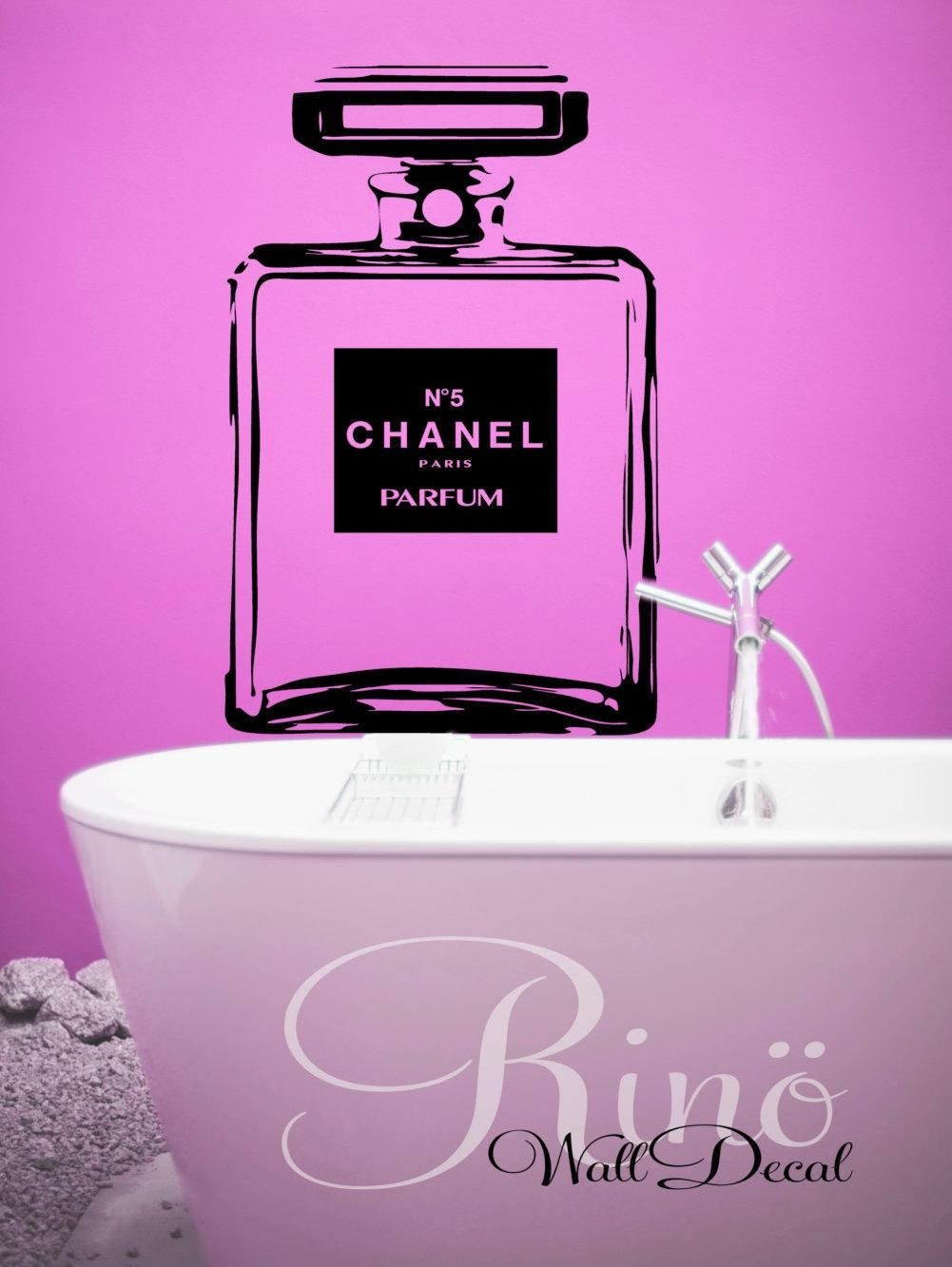 Chanel No 5 Stencil Large Bottle Wall Art Decal Cc Coco Chanel Within Coco Chanel Wall Stickers (Image 5 of 20)