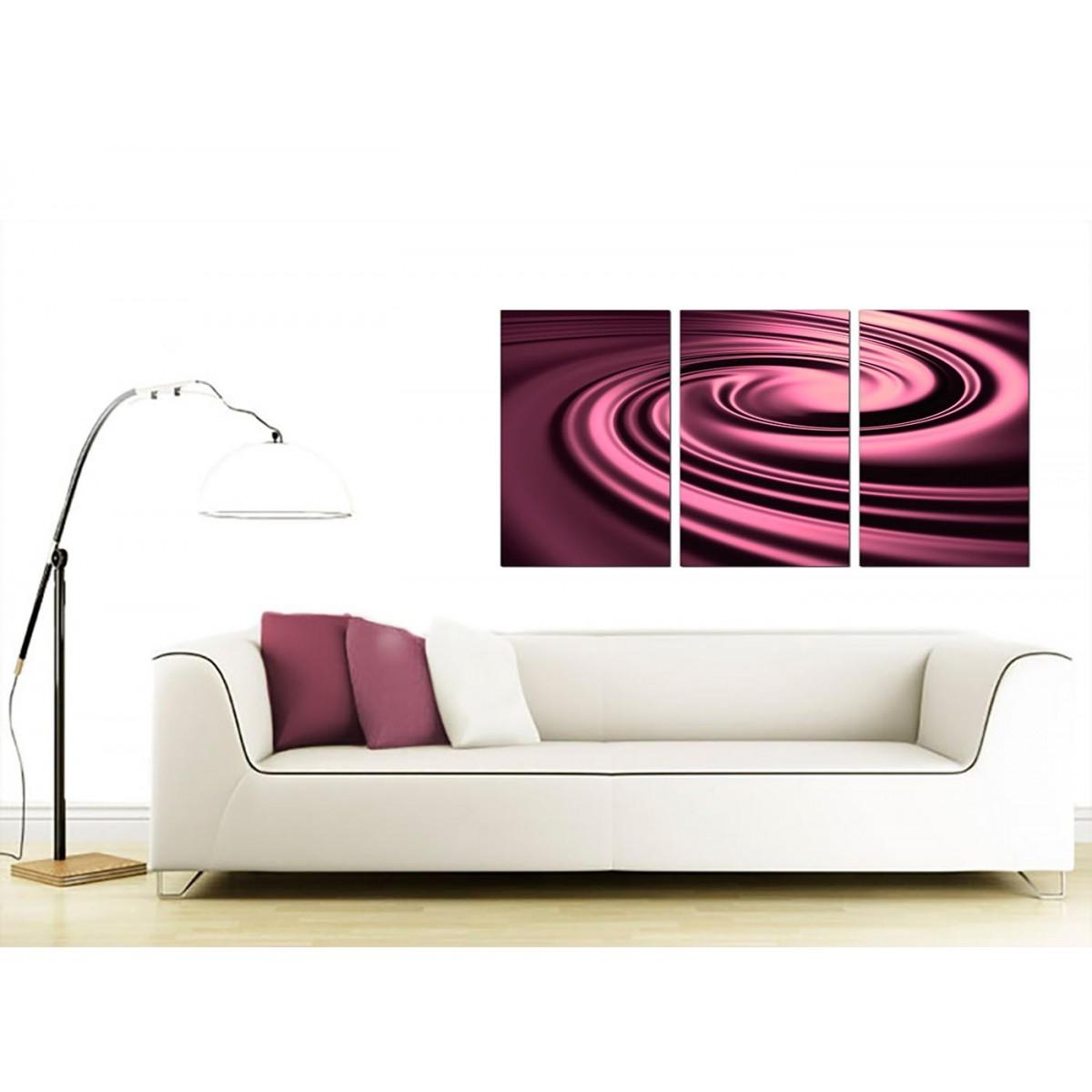 Cheap Abstract Canvas Wall Art 3 Part In Plum With Plum Coloured Wall Art (Image 3 of 20)