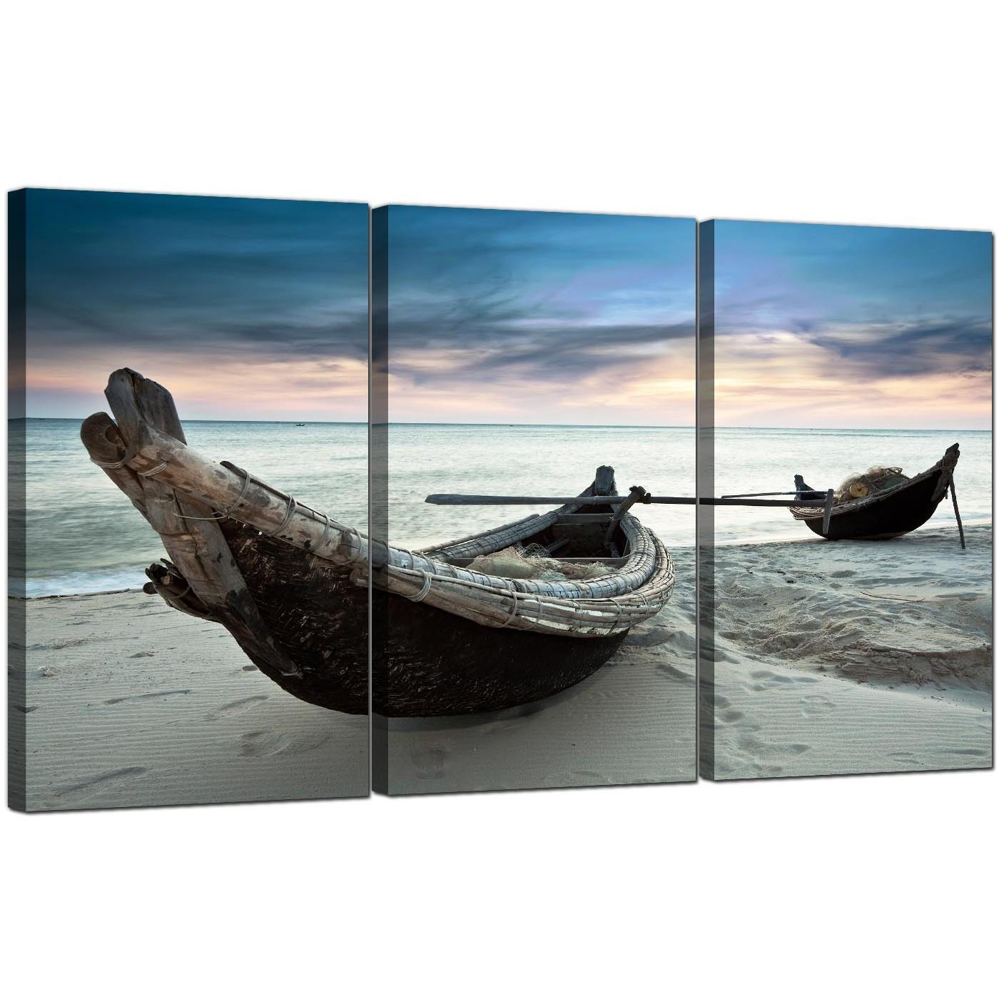 Cheap Beach Boats Canvas Wall Art Set Of Three For Your Living Room Intended For Boat Wall Art (Image 5 of 20)