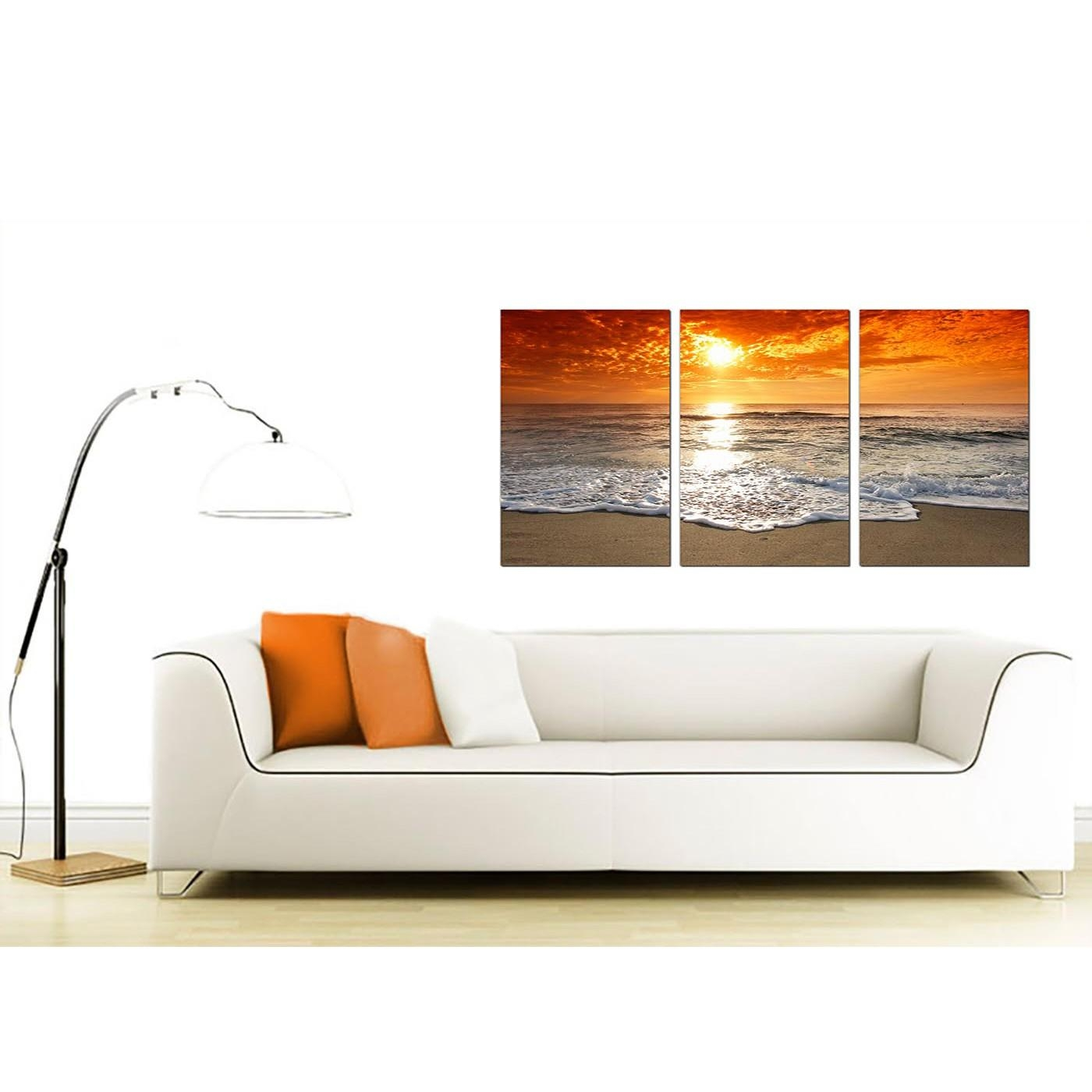 Cheap Beach Sunset Canvas Prints Uk Set Of 3 For Your Living Room With 3 Set Canvas Wall Art (Image 14 of 20)
