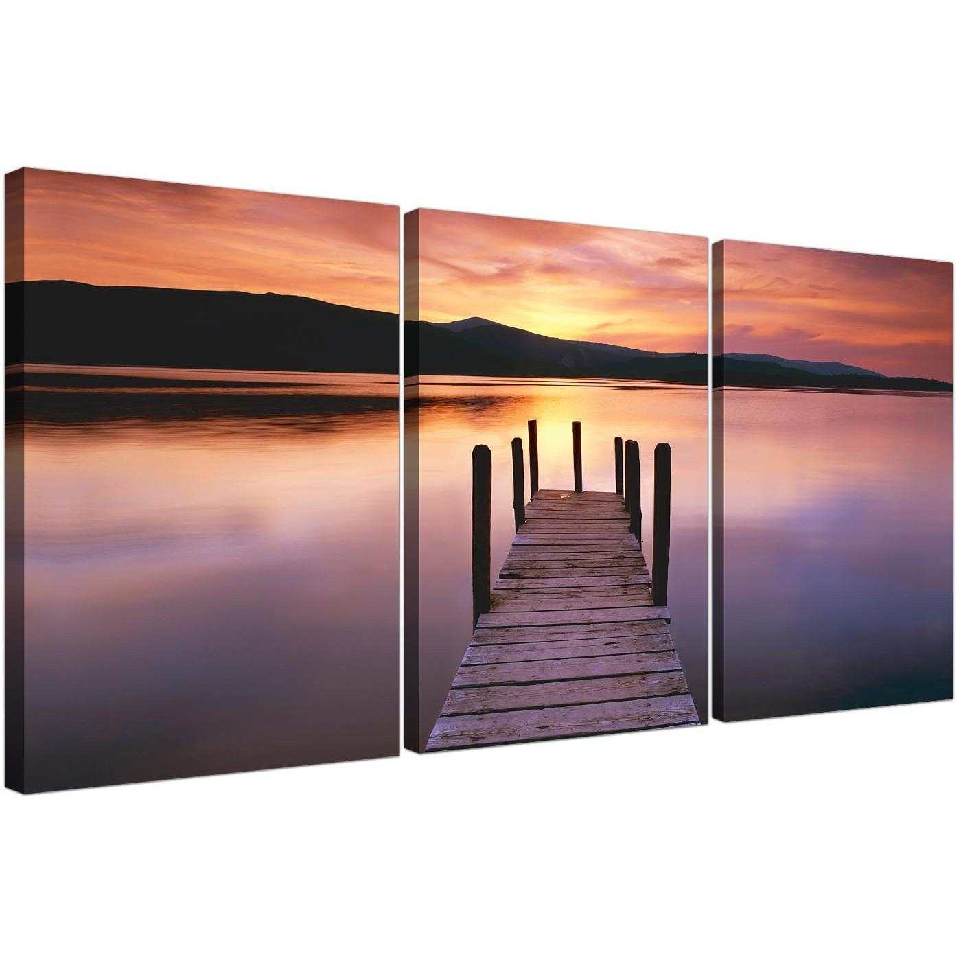 Cheap Lake Sunset Canvas Prints Set Of 3 For Your Living Room Intended For 3 Set Canvas Wall Art (View 14 of 20)
