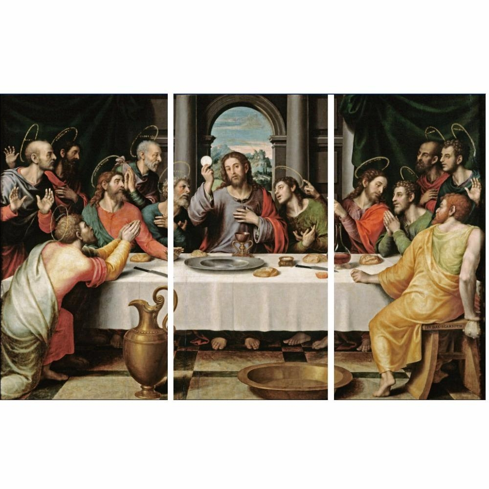 Cheap Modern Paintings 3 Piece Wall Art On Canvas Printed Oil Pertaining To The Last Supper Wall Art (Image 3 of 20)