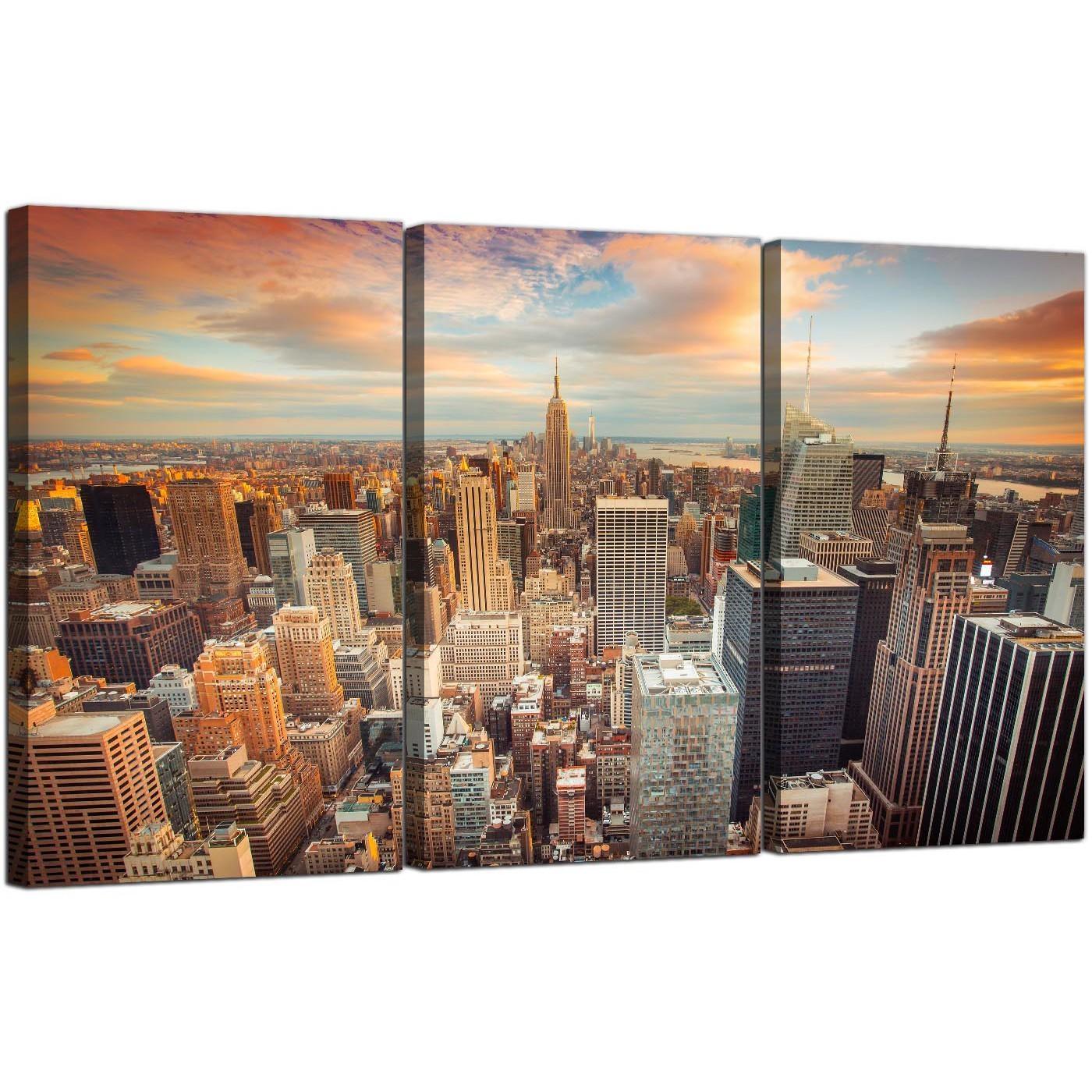 Cheap New York Skyline Canvas Wall Art 3 Panel For Your Living Room Throughout New York City Canvas Wall Art (View 6 of 20)