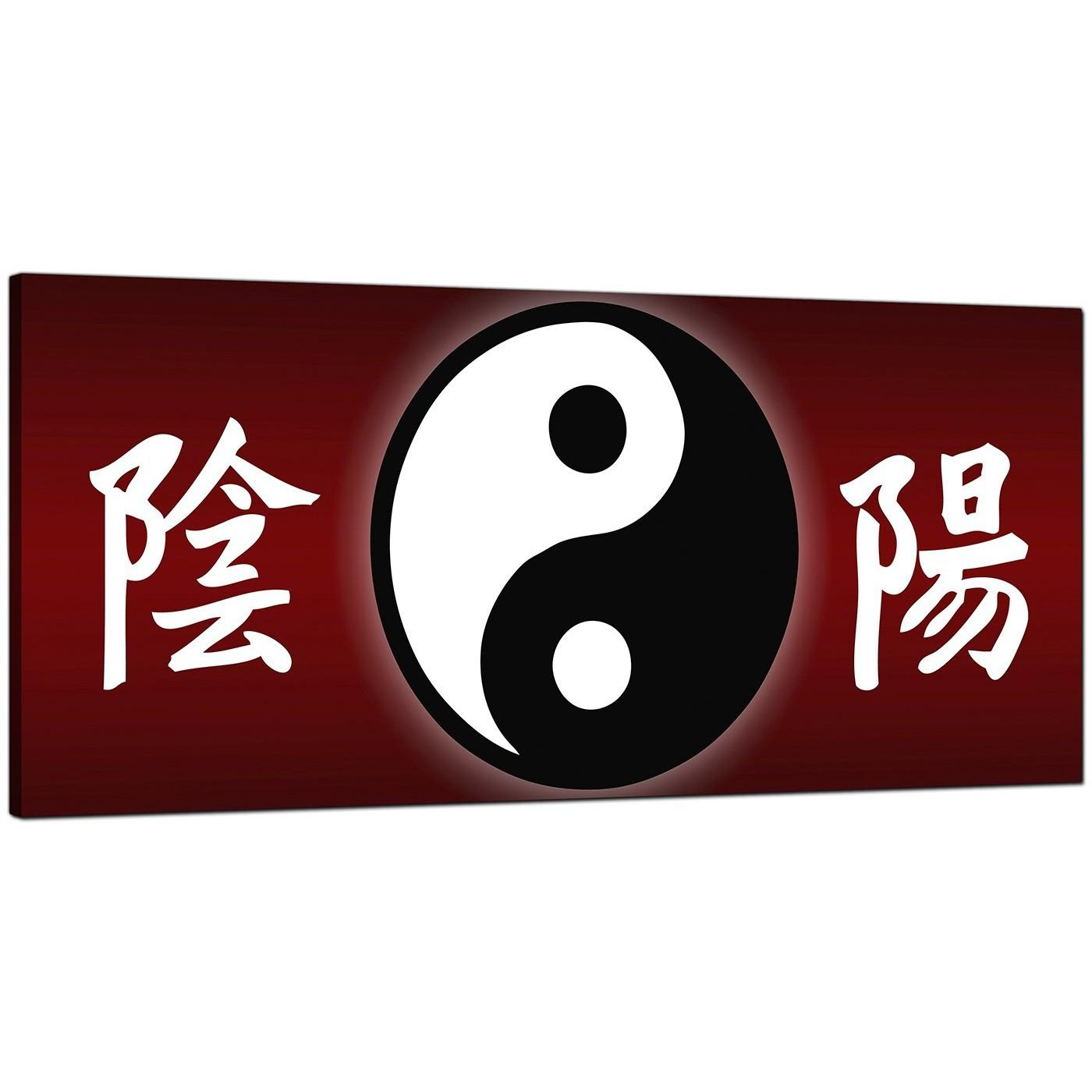 Cheap Red Canvas Wall Art Of Chinese Writing And Yin Yang Symbol Intended For Chinese Symbol Wall Art (Image 5 of 20)