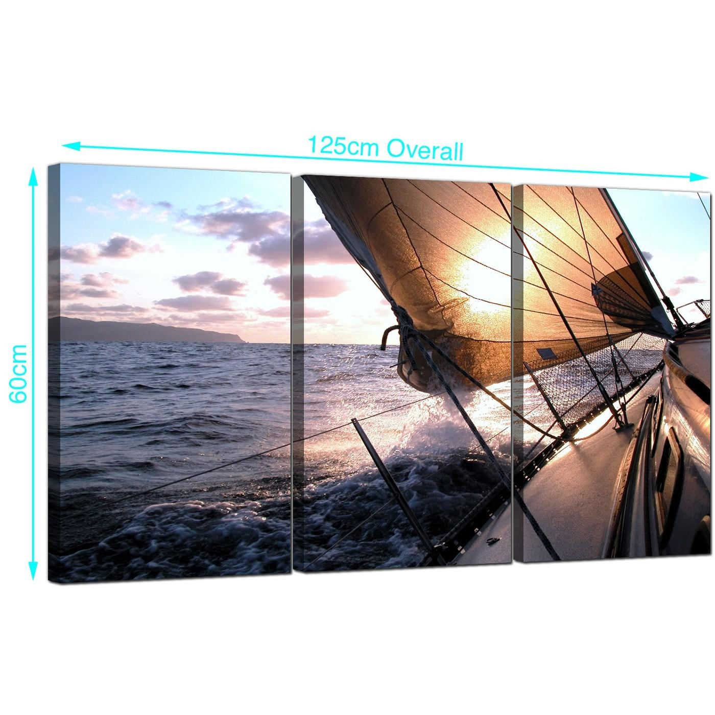 Cheap Sailing Boat Canvas Prints Set Of Three For Your Living Room Intended For Boat Wall Art (Image 6 of 20)