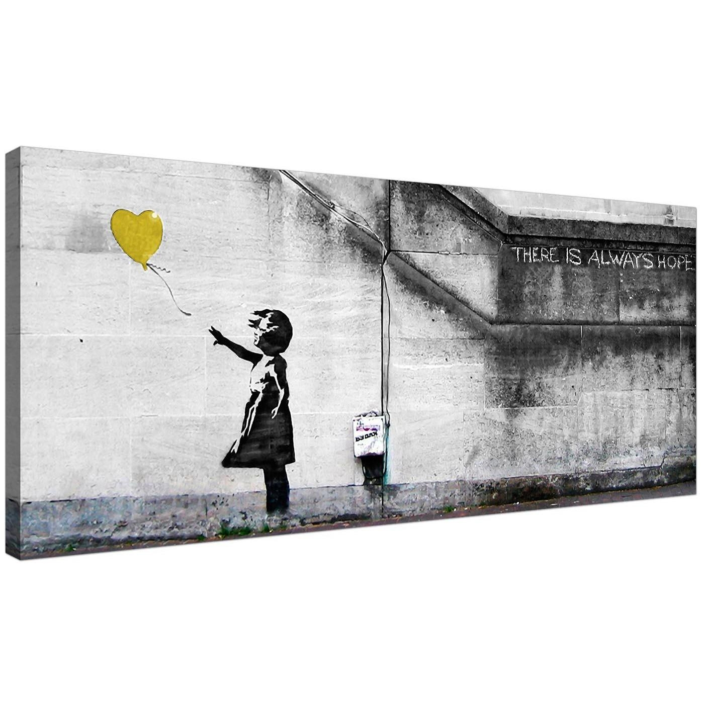 Cheap Yellow Canvas Art Of Banksy Balloon Girl Pertaining To Yellow Grey Wall Art (Image 6 of 20)