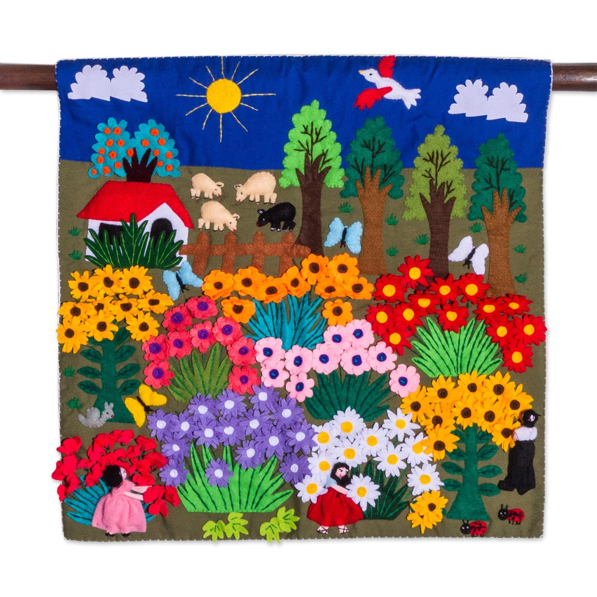 Cheerful Applique Arpilleria Wall Hanging From Peru – Harvesting For Peruvian Wall Art (View 7 of 20)
