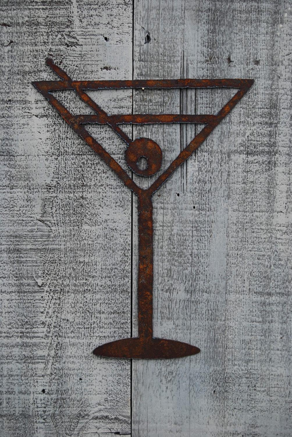 Cheers Martini Glass Metal Art Wall Hanging Bar Decor Intended For Martini Glass Wall Art (View 6 of 20)