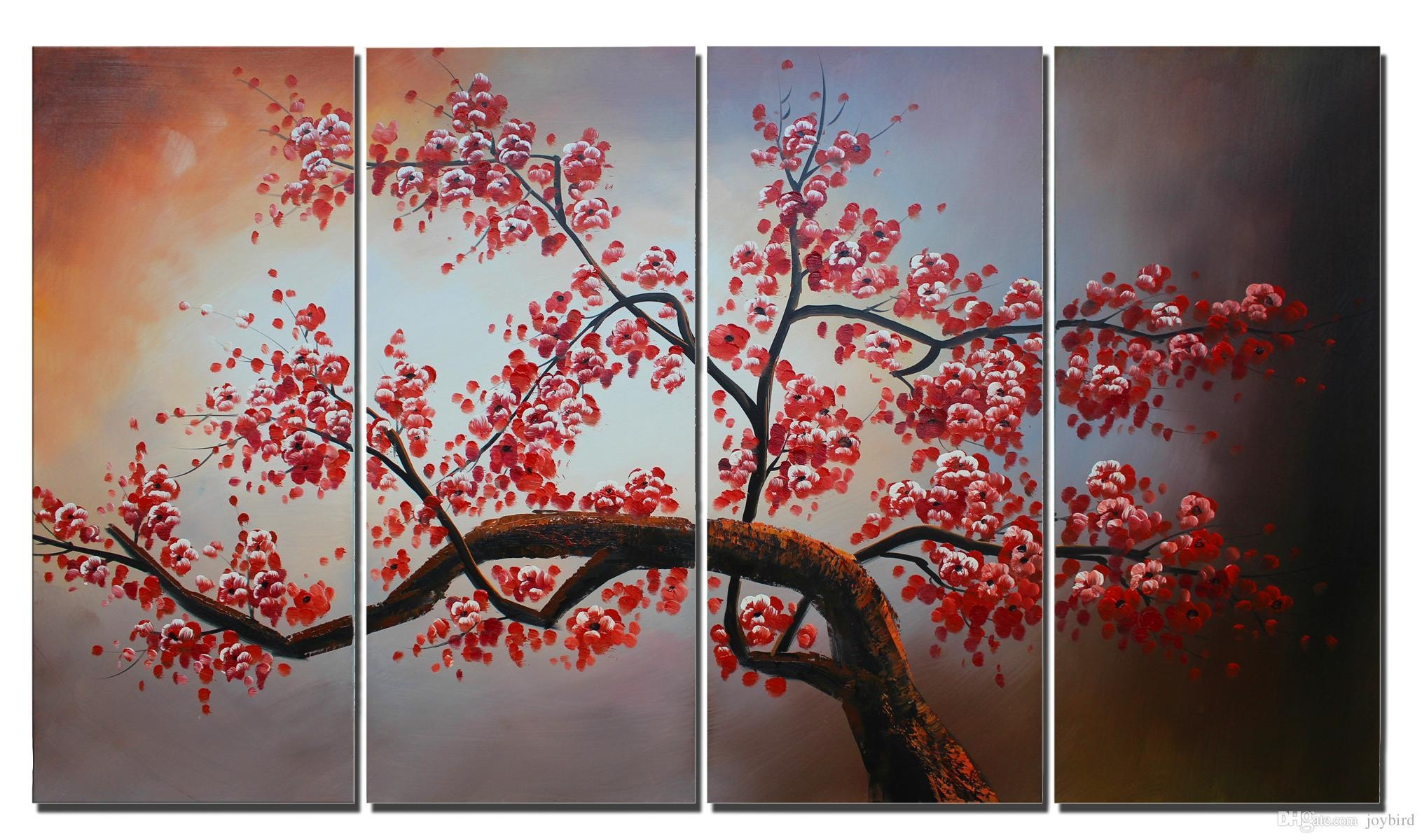 Cherry Blossom Canvas Art Flower Painting Home Decor 100% Handmade Throughout Flower Wall Art Canvas (View 18 of 20)