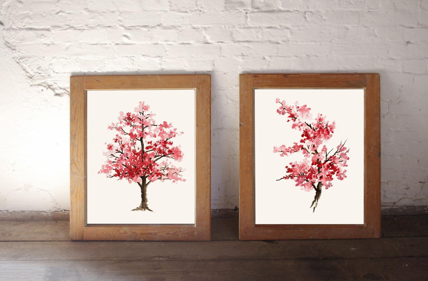 Cherry Blossom Painting Pink Art Print Set Of 2 Watercolor Inside Red Cherry Blossom Wall Art (View 10 of 20)