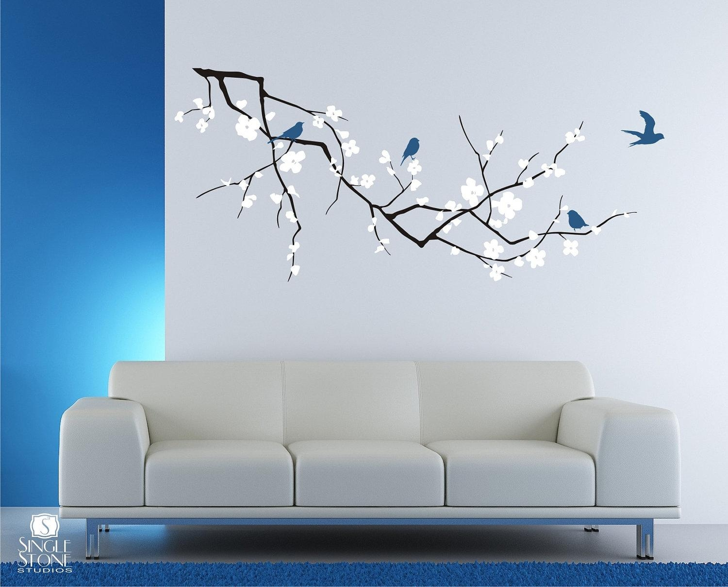 Cherry Blossom Tree Branch Wall Decal With Birds Vinyl Wall Regarding Vinyl Wall Art Tree (View 3 of 20)