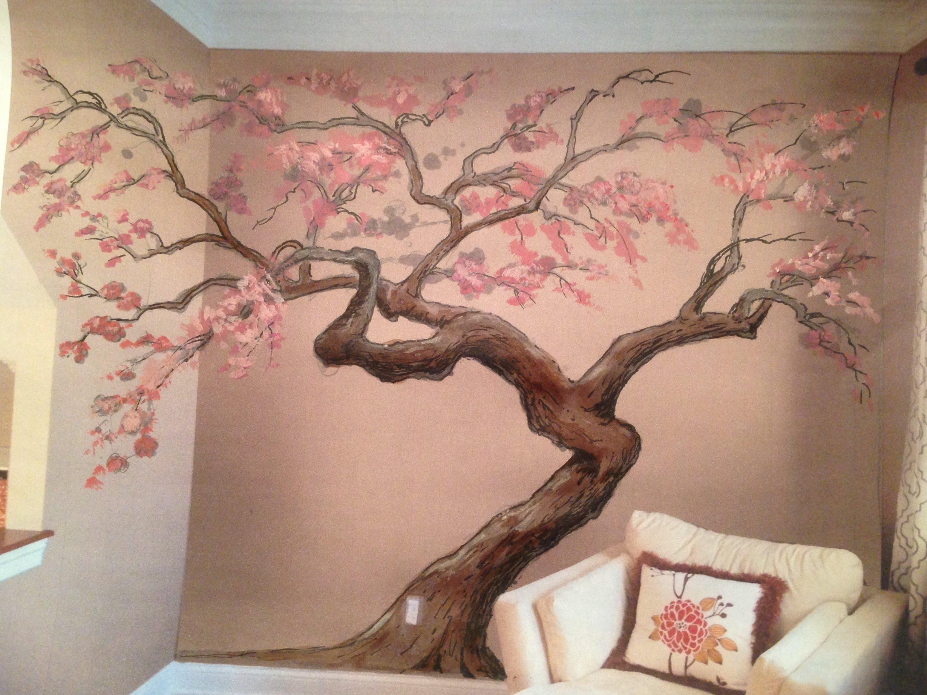 2018 latest painted trees wall art wall art ideas for Cherry tree mural