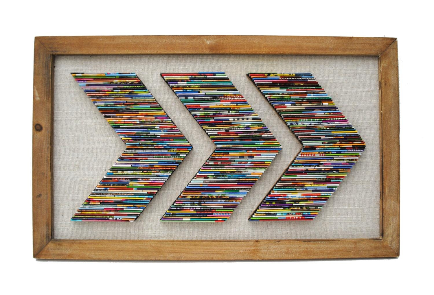 Chevron Recycled Magazine Wall Art  Made From Recycled Magazines Throughout Recycled Wall Art (Image 6 of 20)