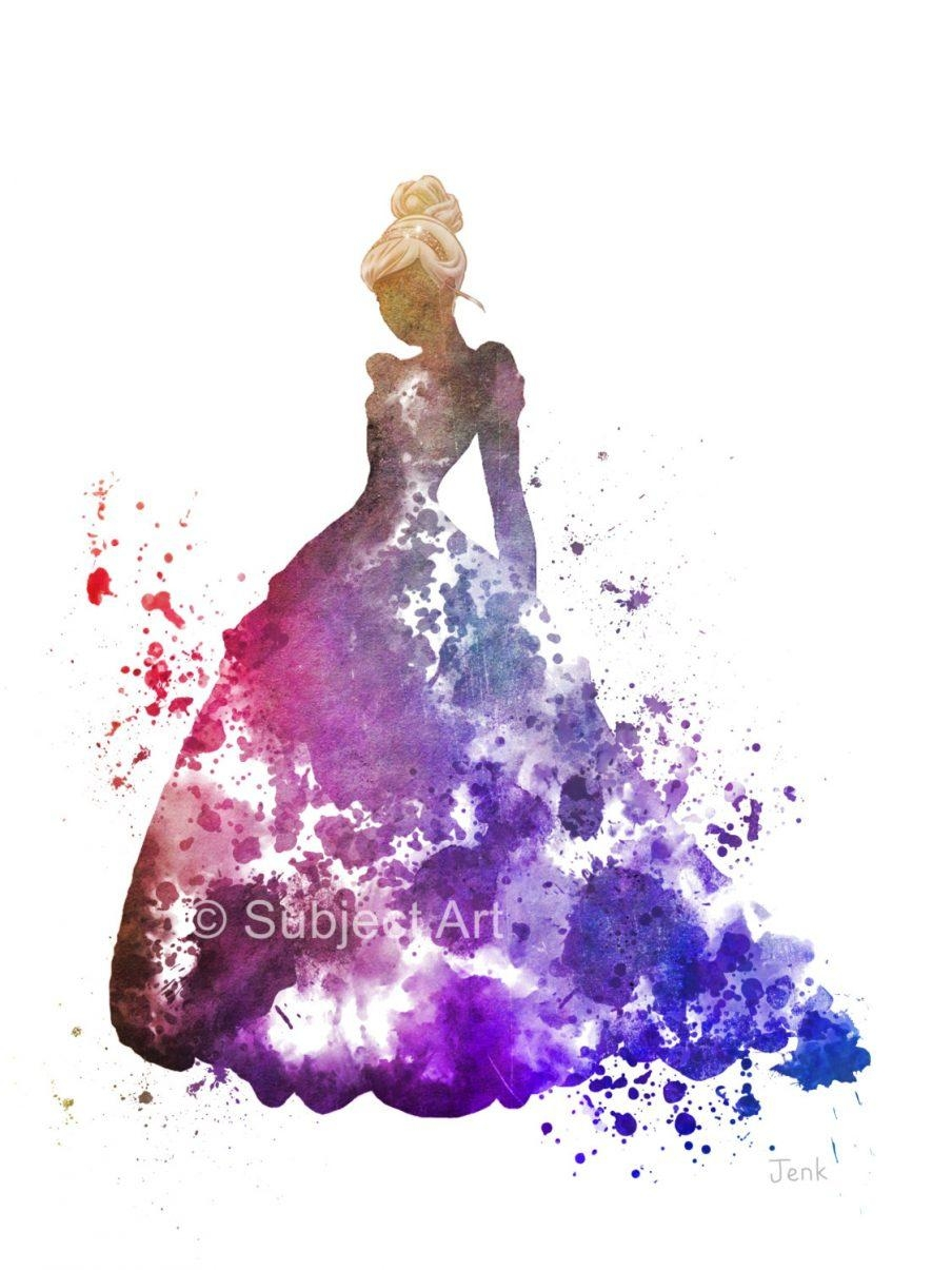 Chic Disney Princess Aurora Fashionista Canvas Wall Art Cinderella Intended  For Princess Canvas Wall Art (