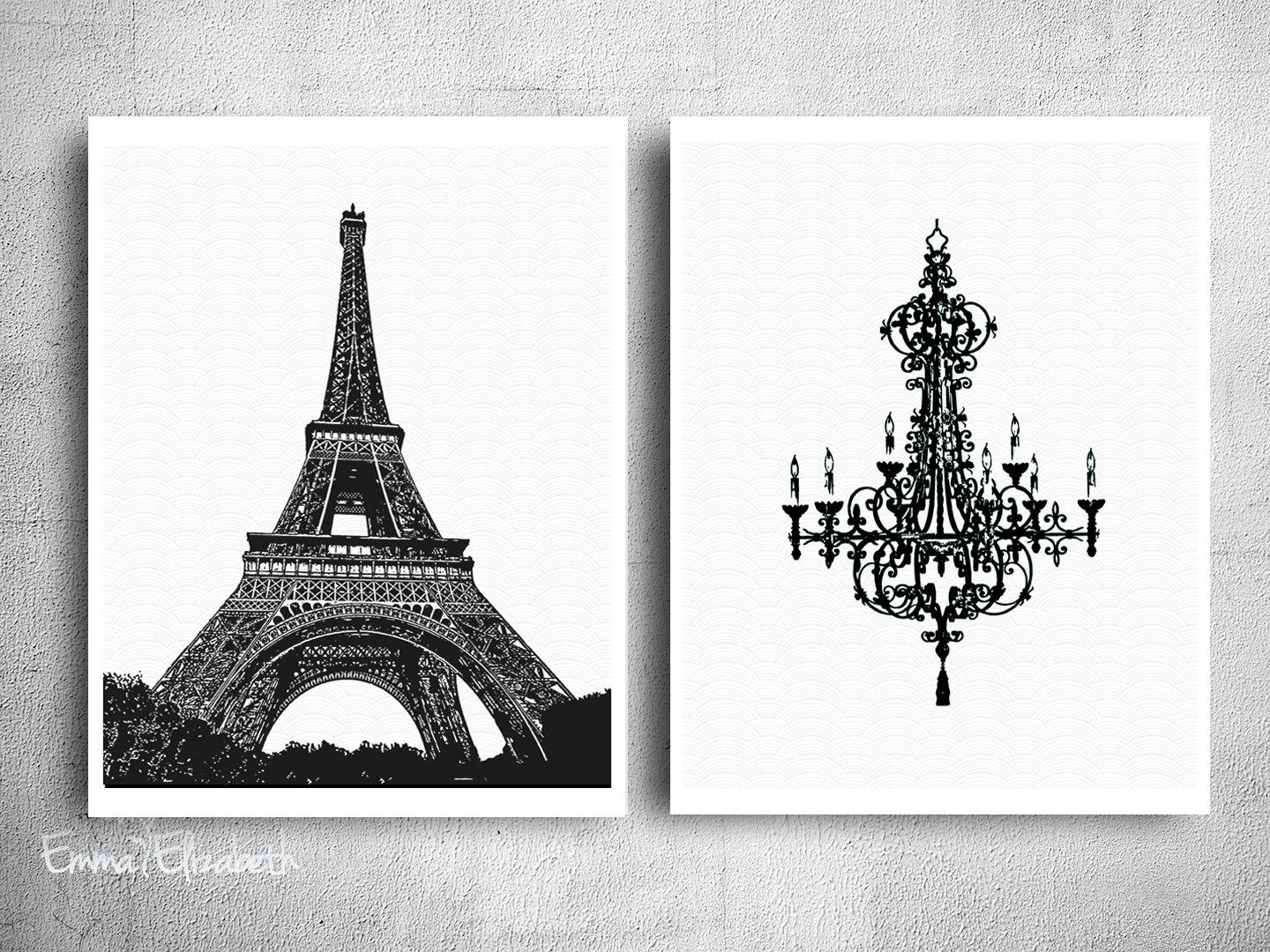 Chic Wall Decor Black White Poster Print Simple Clean Art French Regarding Eiffel Tower Wall Hanging Art (Image 3 of 20)