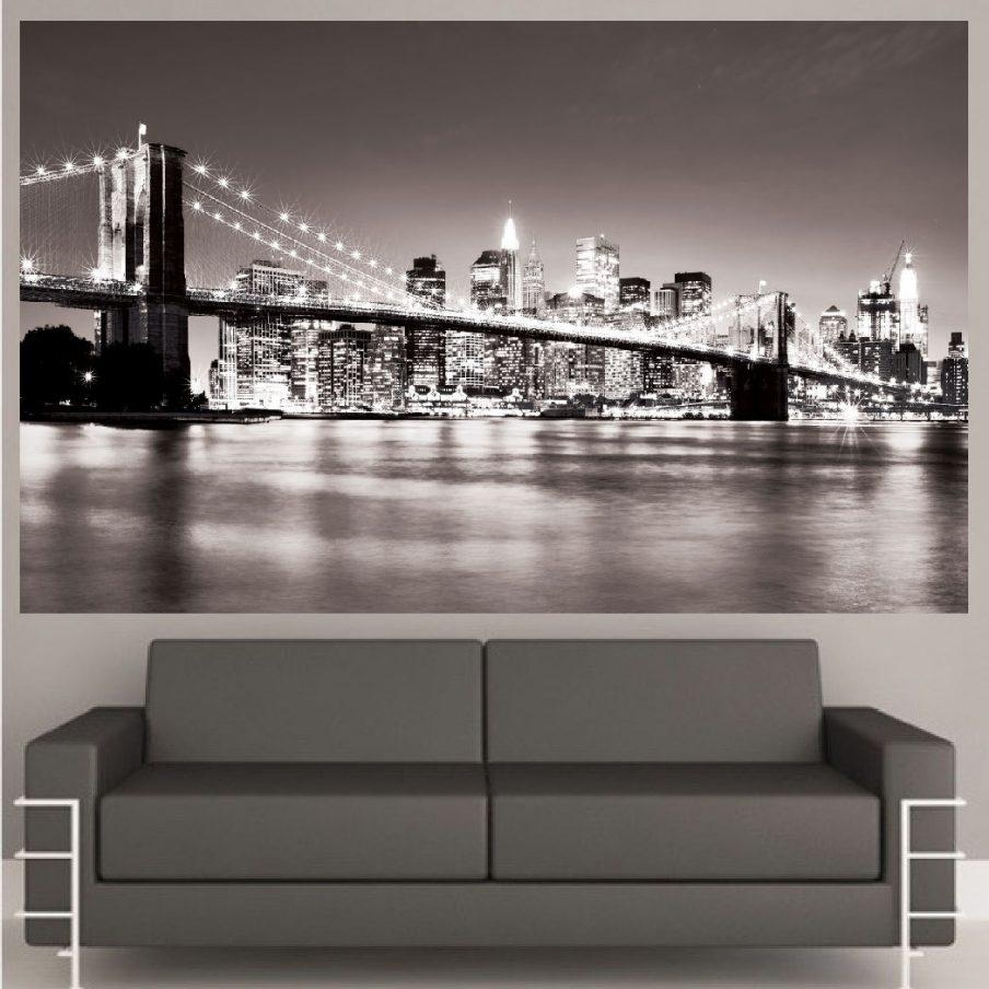 Chic Wall Ideas Wall Art New York Brooklyn Bridge Framed Wall Art Within Brooklyn Bridge Metal Wall Art (Image 4 of 20)