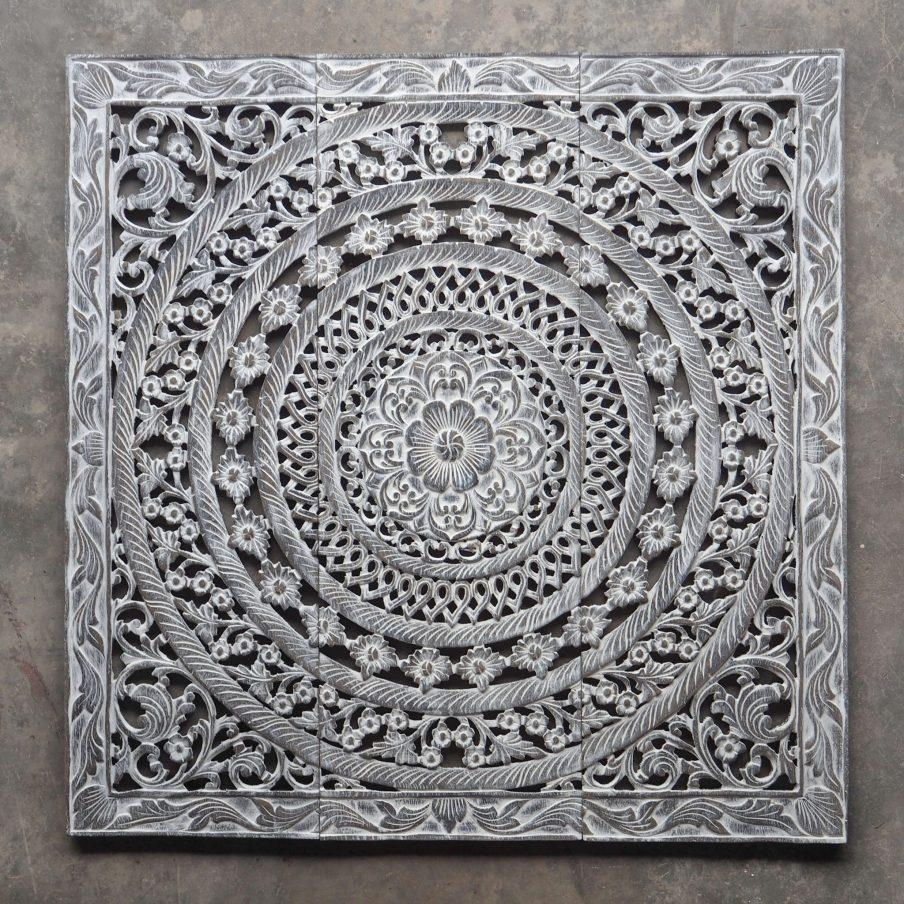 Chic Wood Carved Decorative Wall Art Plaque Oriental Hand Carved With White Wooden Wall Art (Image 8 of 20)