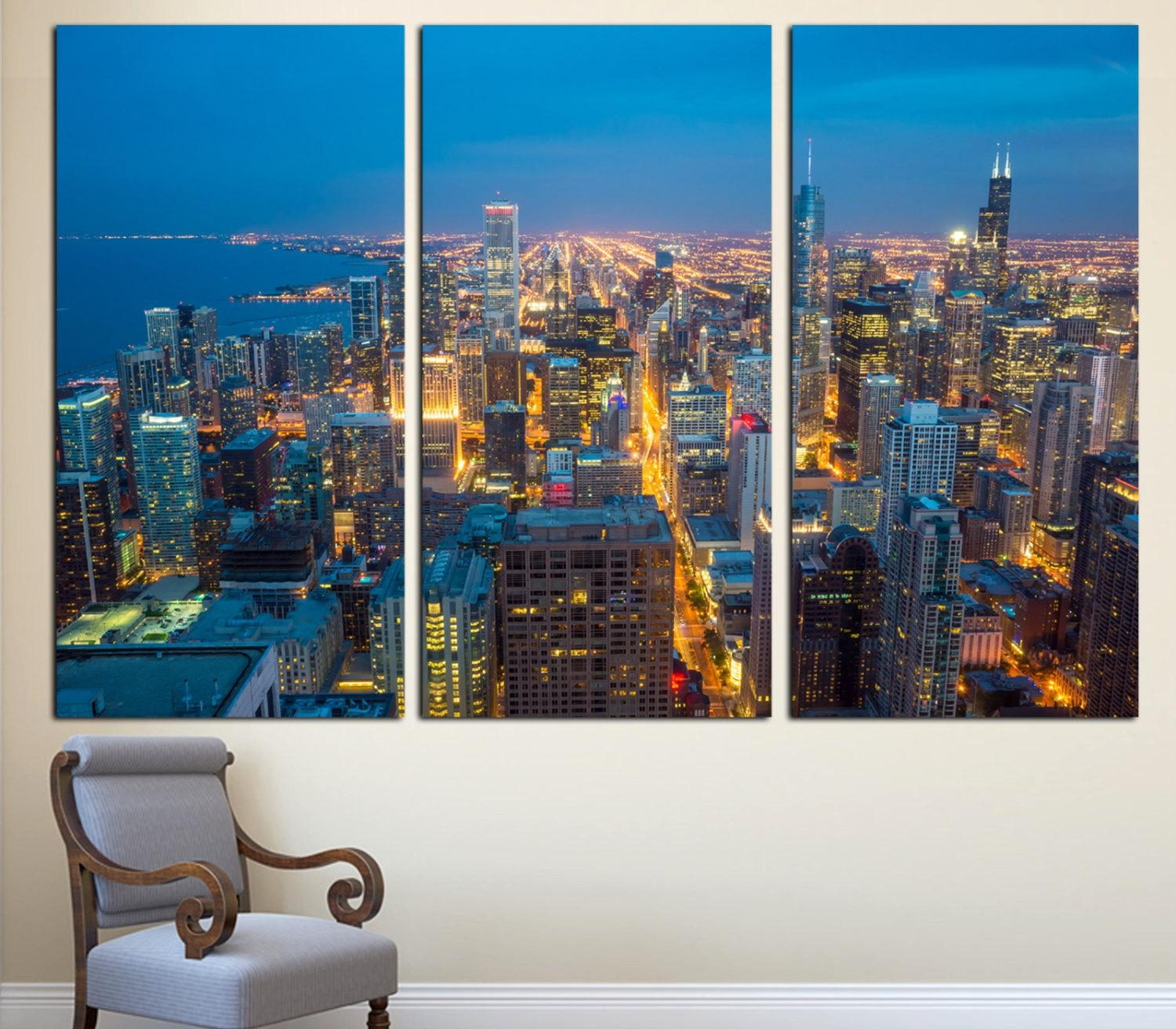 Chicago City Skyline Art Canvas Print 3 Panel Split For Cityscape Canvas Wall Art (Image 7 of 20)