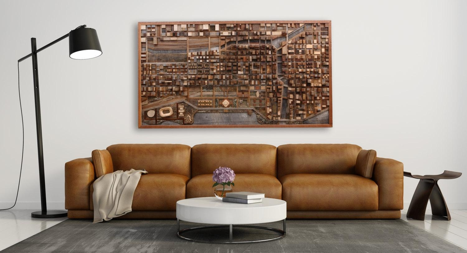 Chicago Cityscape Wood Wall Art Made Of Old Reclaimed Barn Inside Industrial Wall Art (View 6 of 20)