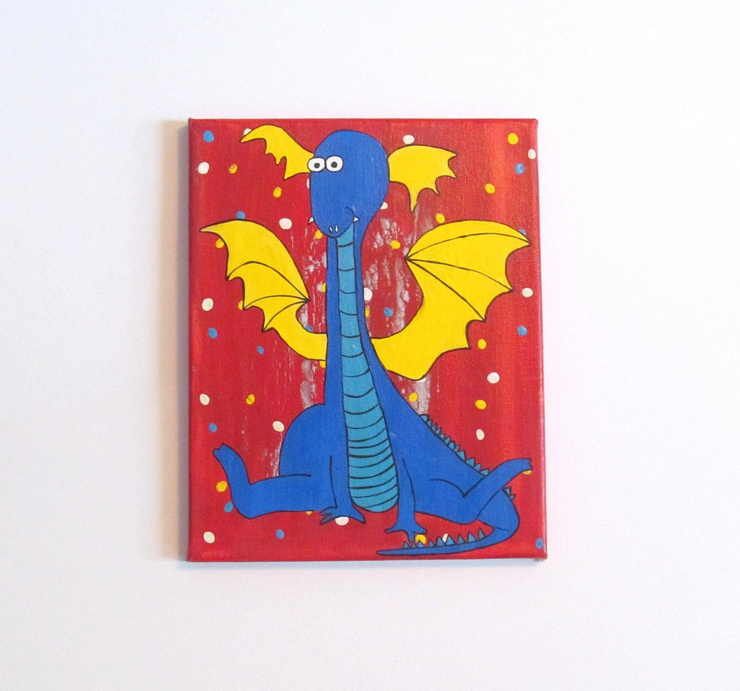 Childrens Wall Art Canvas Art Kids Canvas Art Dragon With Etsy Childrens Wall Art (Image 8 of 20)