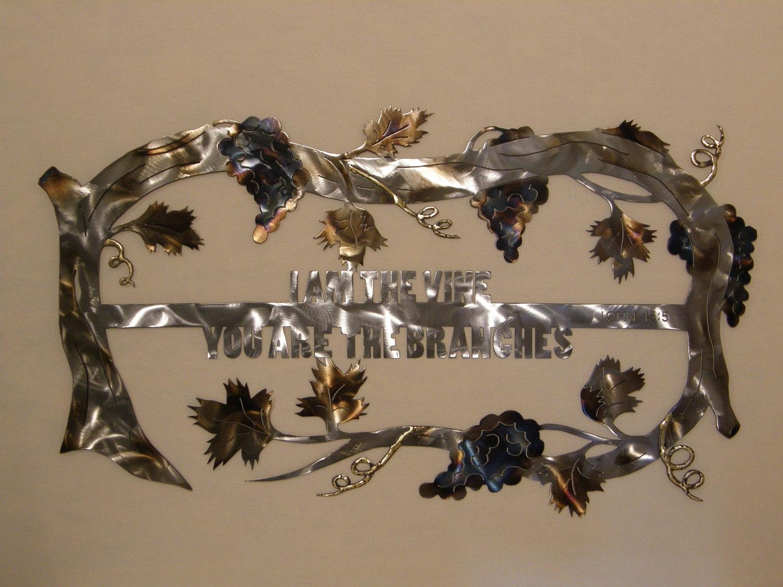 Christian Grape Vine Metal Wall Art Sculpture Intended For Grape Wall Art (Image 3 of 20)
