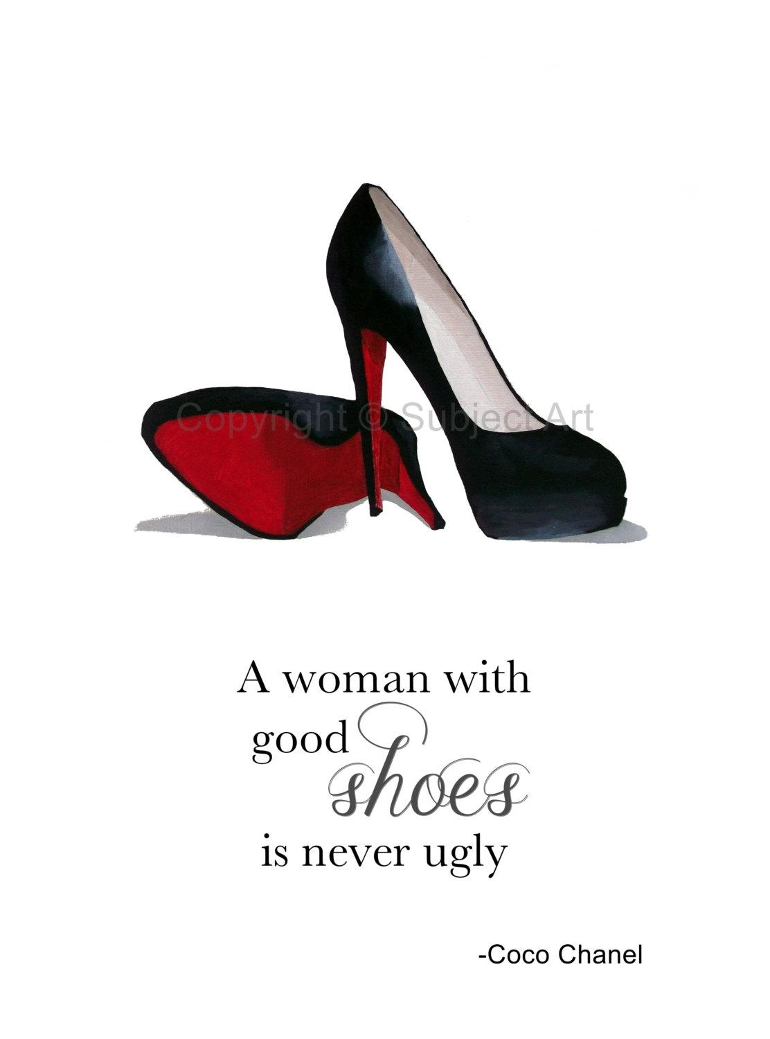 Christian Louboutin Black Shoes Art Print Coco Chanel Quote For Coco Chanel Quotes Framed Wall Art (Image 8 of 20)