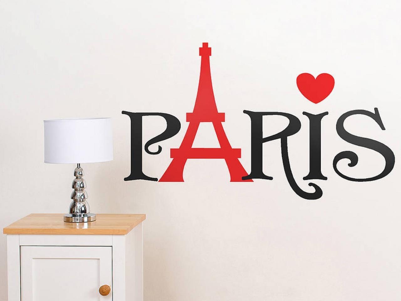 Christmas Bedroom Decorations, Paris Word Wall Sticker Paris Vinyl Within Paris Vinyl Wall Art (Image 2 of 20)