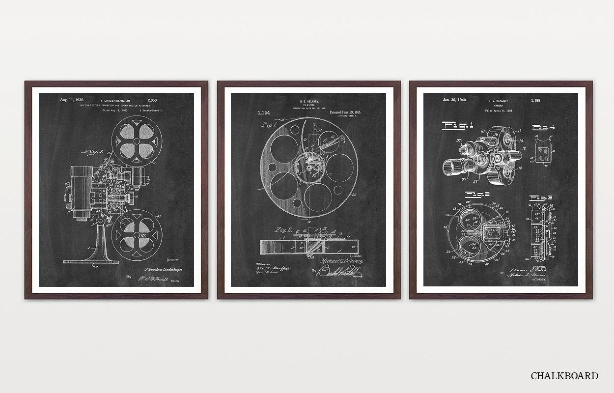 Cinema Patent Inventions Of Film Movie Poster Movie Inside Film Reel Wall Art (Image 5 of 20)