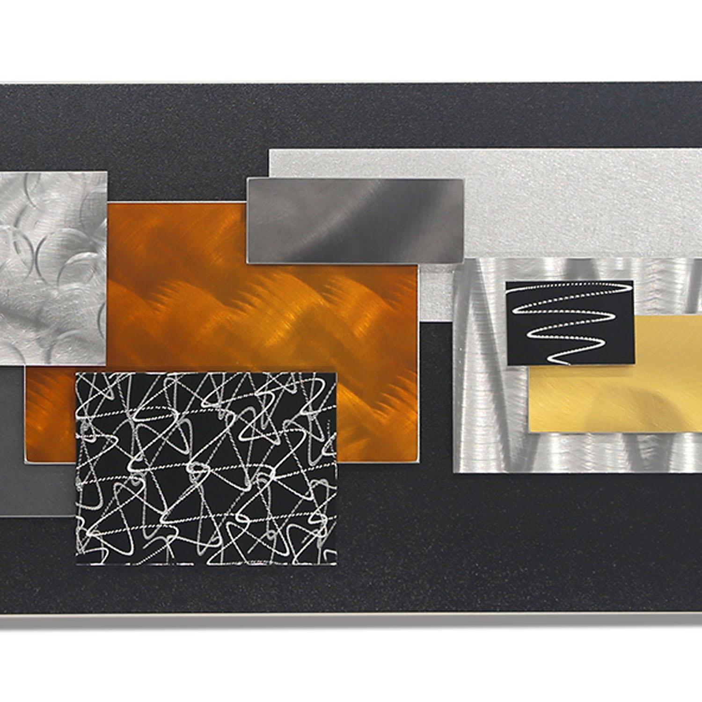 City In Falljon Allen – Black, Silver, Gold & Copper Geometric Throughout Black Silver Wall Art (View 12 of 20)