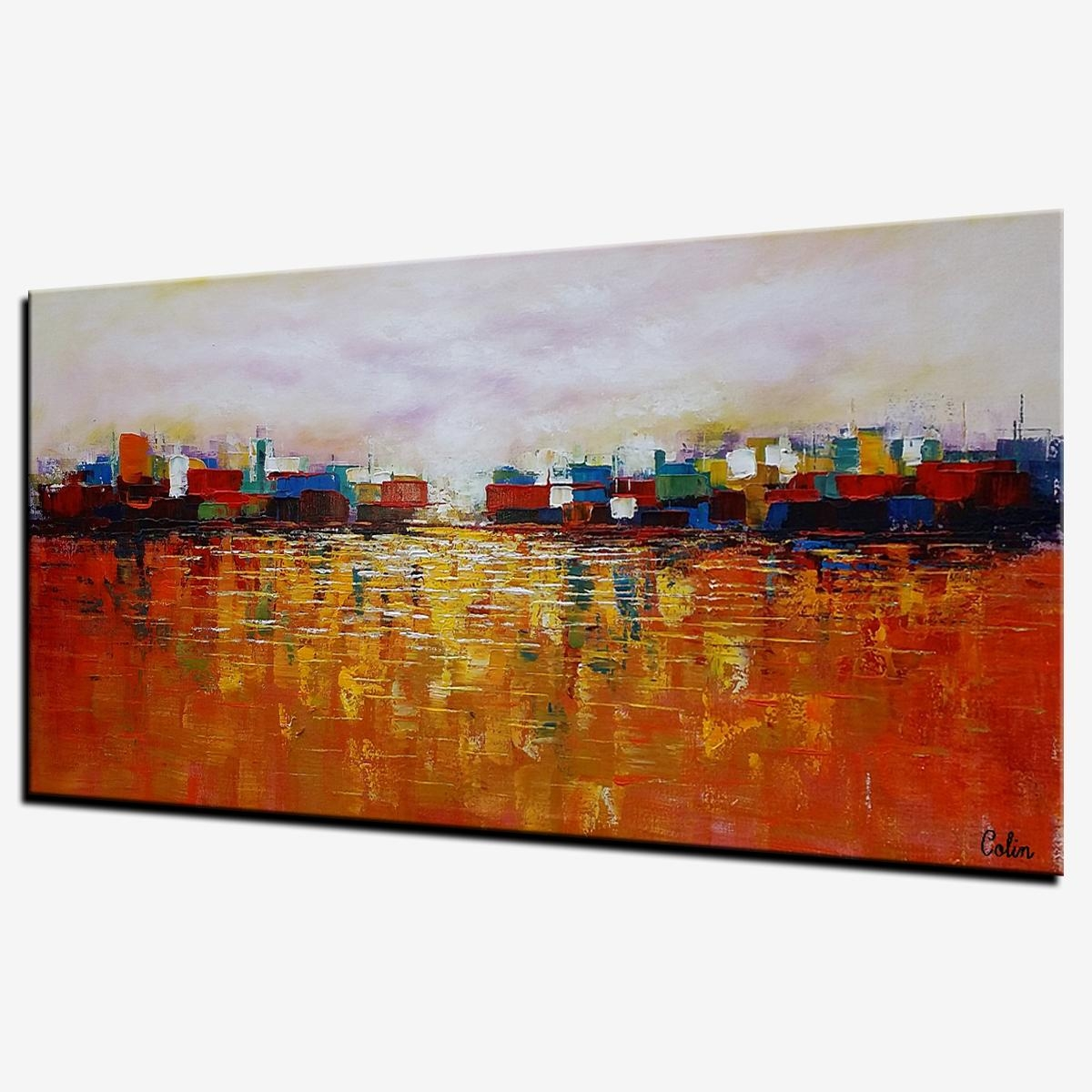 Cityscape Art, Abstract Landscape Painting, Canvas Wall Art With Regard To Cityscape Canvas Wall Art (View 14 of 20)