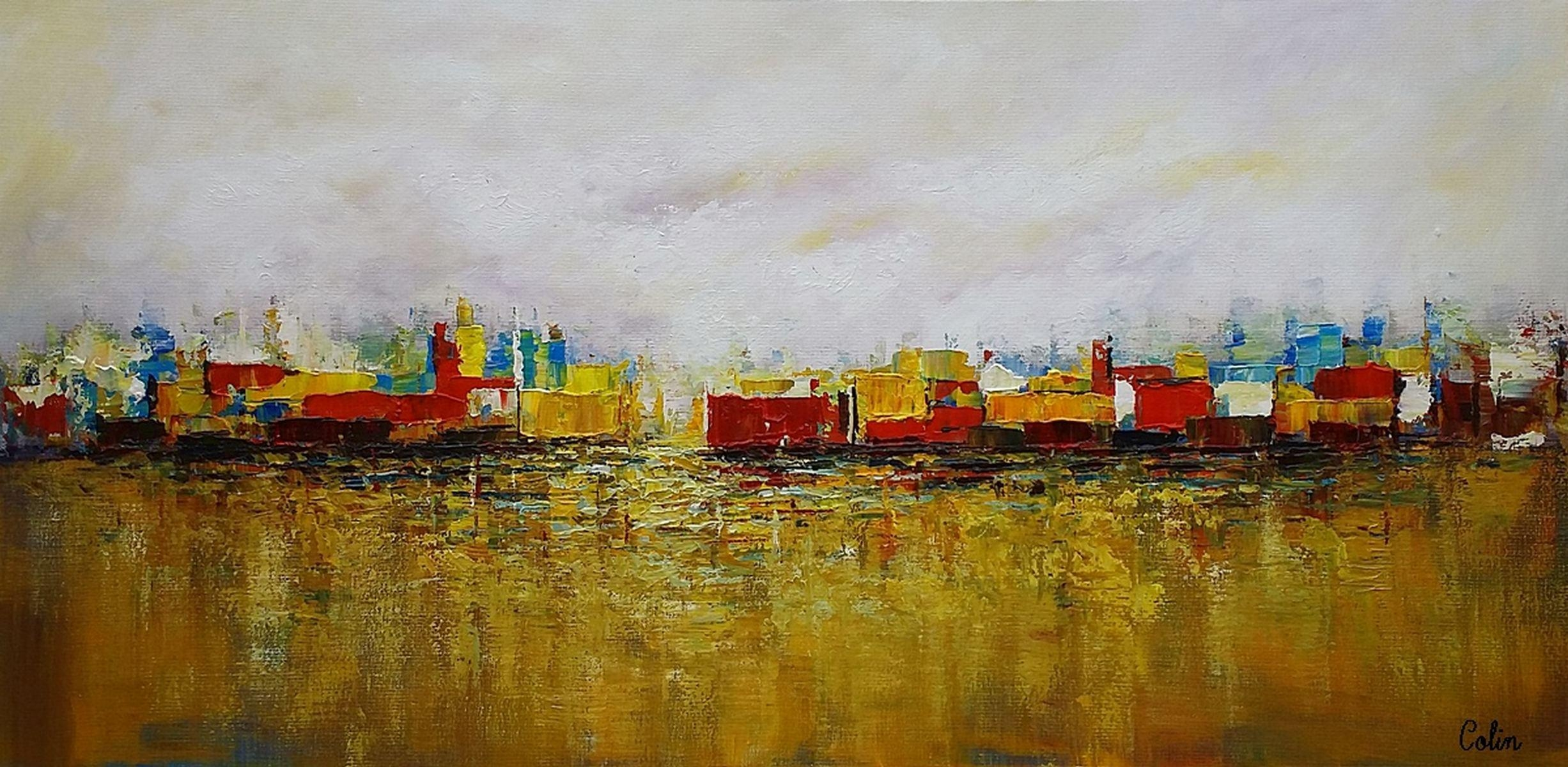 Cityscape Art, Canvas Wall Art, Landscape Painting, Contemporary Regarding Cityscape Canvas Wall Art (View 19 of 20)