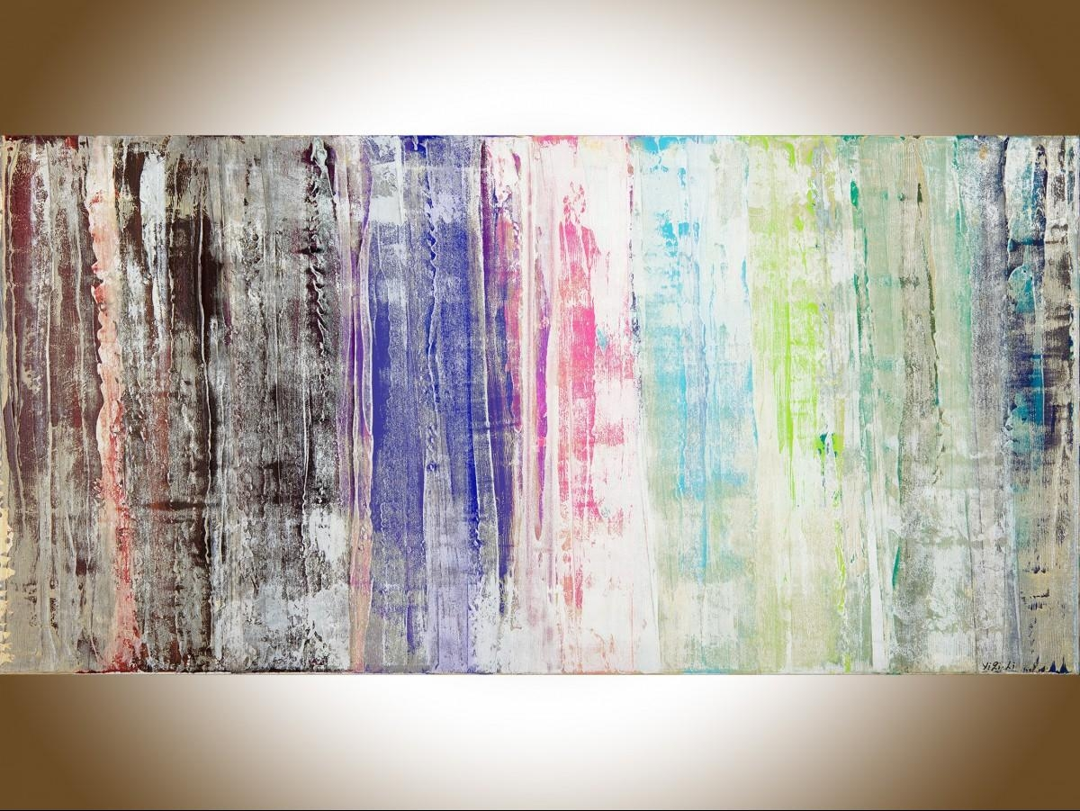 """Cityscapeqiqigallery 48""""x24"""" Green Blue Red Pink Painting For Red And Turquoise Wall Art (Image 9 of 20)"""