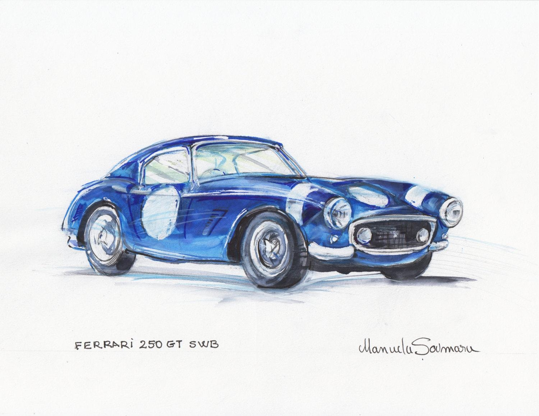 Classic Car Illustration Ferrari 250 Gt Swb Vintage Car Throughout Classic Car Wall Art (View 16 of 20)