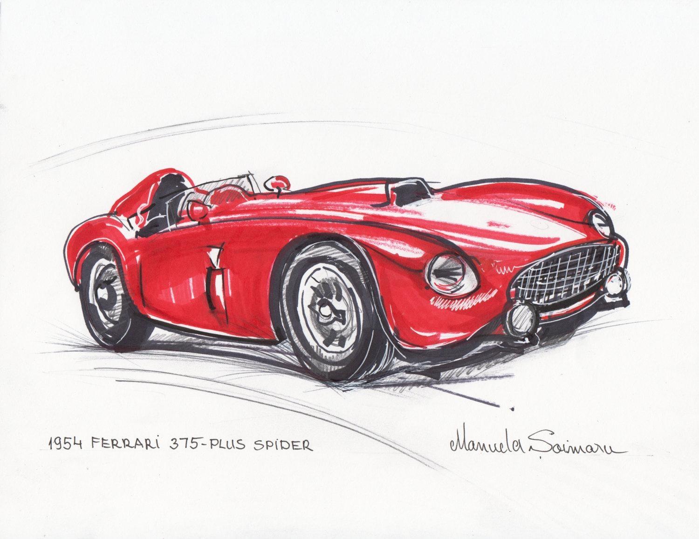 Classic Car Print 1954 Ferrari 375 Red Car Drawing Racing Car Regarding Classic Car Wall Art (Image 3 of 20)
