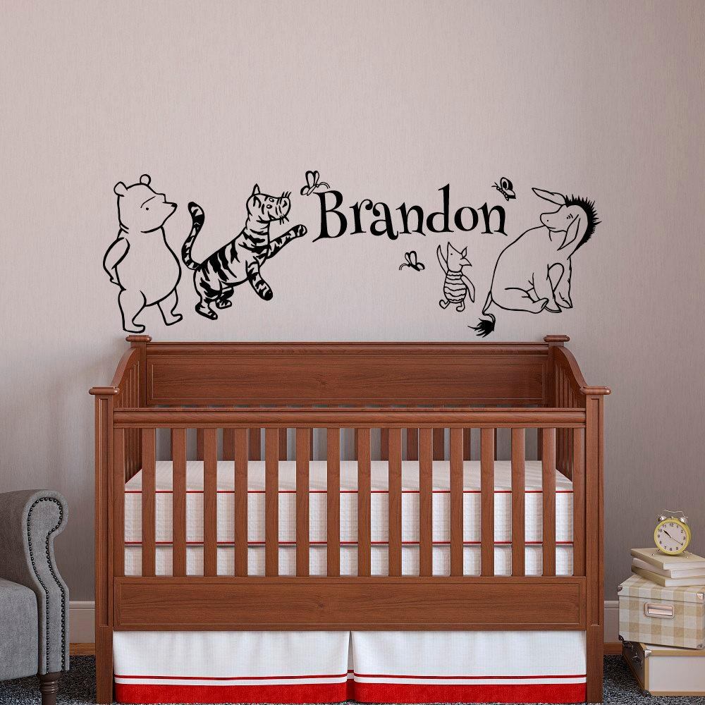 Classic Winnie The Pooh Baby Name Wall Decal Pooh Bear Pertaining To Winnie The Pooh Wall Art For Nursery (View 7 of 20)