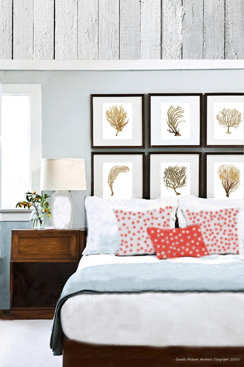 Coastal Decor Sea Fan Coral Set Of 6 Wall Art Prints In Brown With Regard To Sea Fan Wall Art (Image 3 of 20)