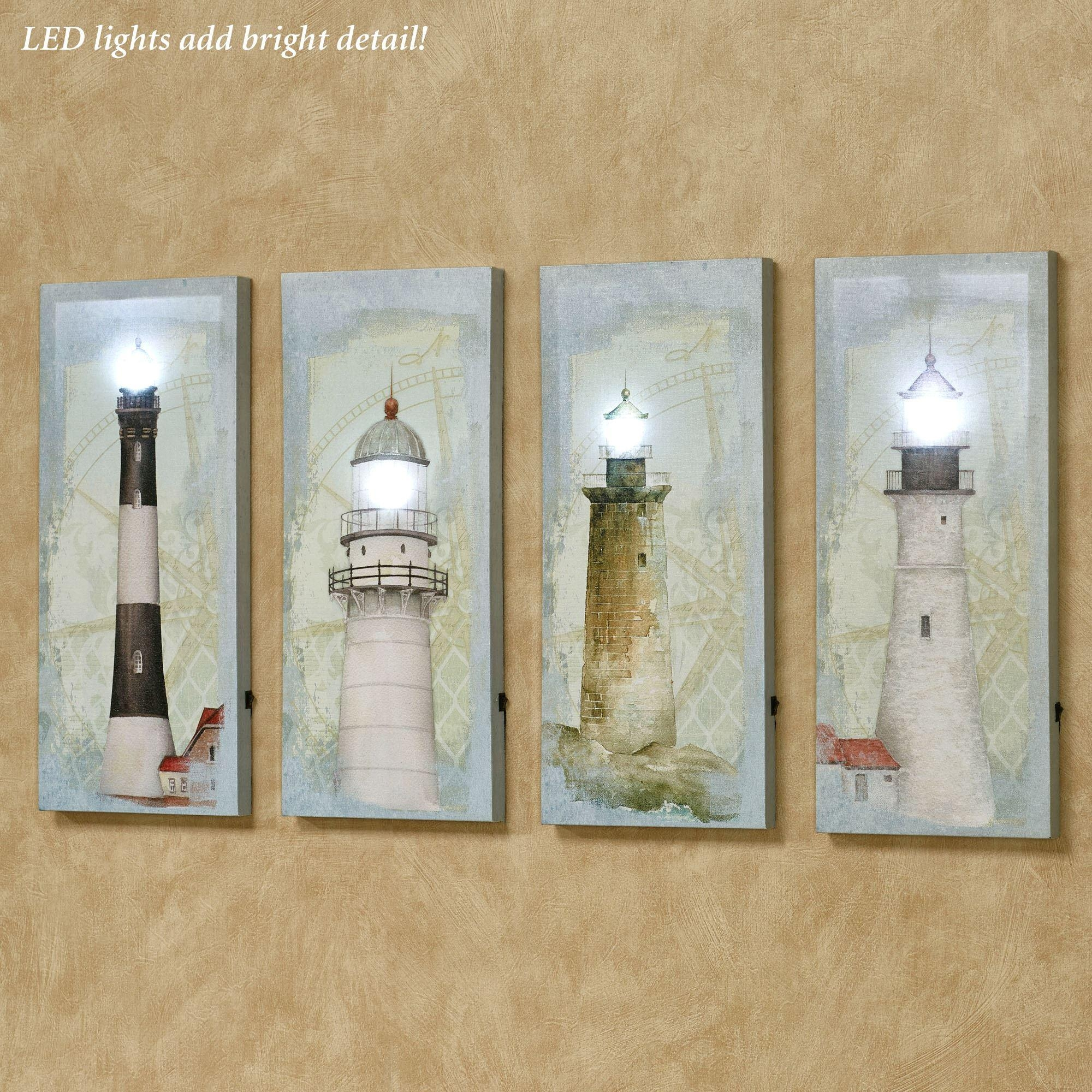 Coastal Lighthouse Led Lighted Canvas Wall Art Set In Coastal Wall Art Canvas (Image 8 of 20)