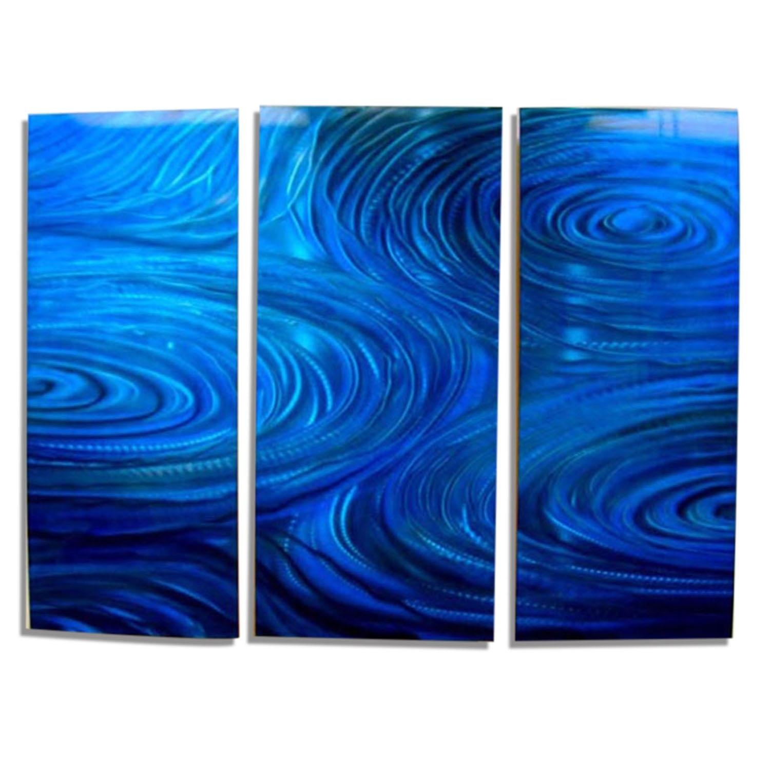 Cobalt Ripple 3 – Cobalt Blue Three Piece Contemporary Metal Wall For Blue And Silver Wall Art (Image 11 of 20)