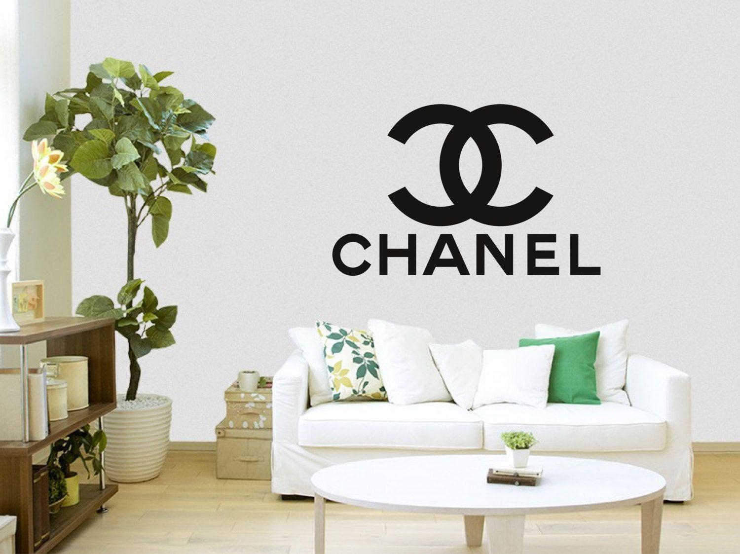 Coco Chanel Logo With Words Wall Sticker Inside Coco Chanel Wall Stickers (View 2 of 20)