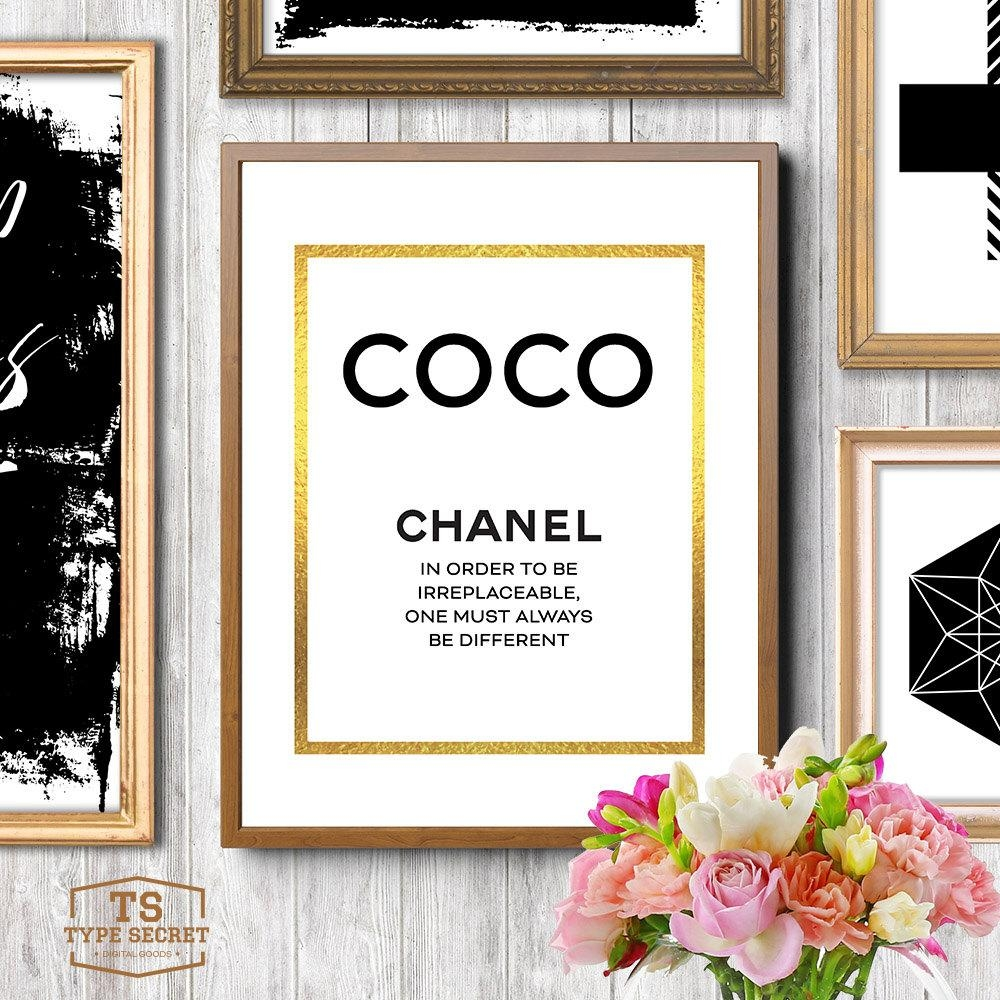 Coco Chanel Print Chanel Printable Art Chanel Quotes Chanel With Chanel Wall Decor (Image 8 of 20)