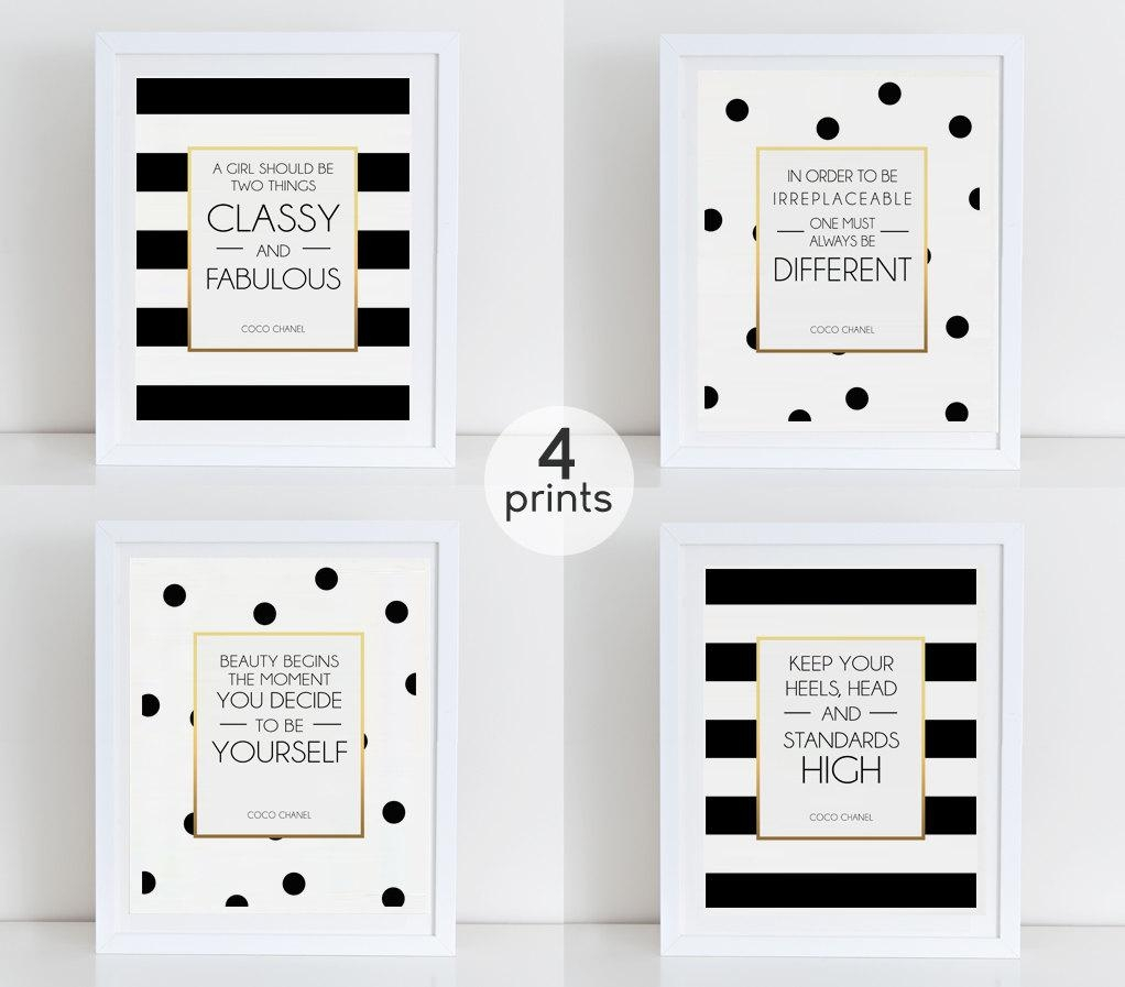 Coco Chanel Quote Set 4 Coco Art Prints Coco Fashion Quotes For Coco Chanel Quotes Framed Wall Art (Image 11 of 20)