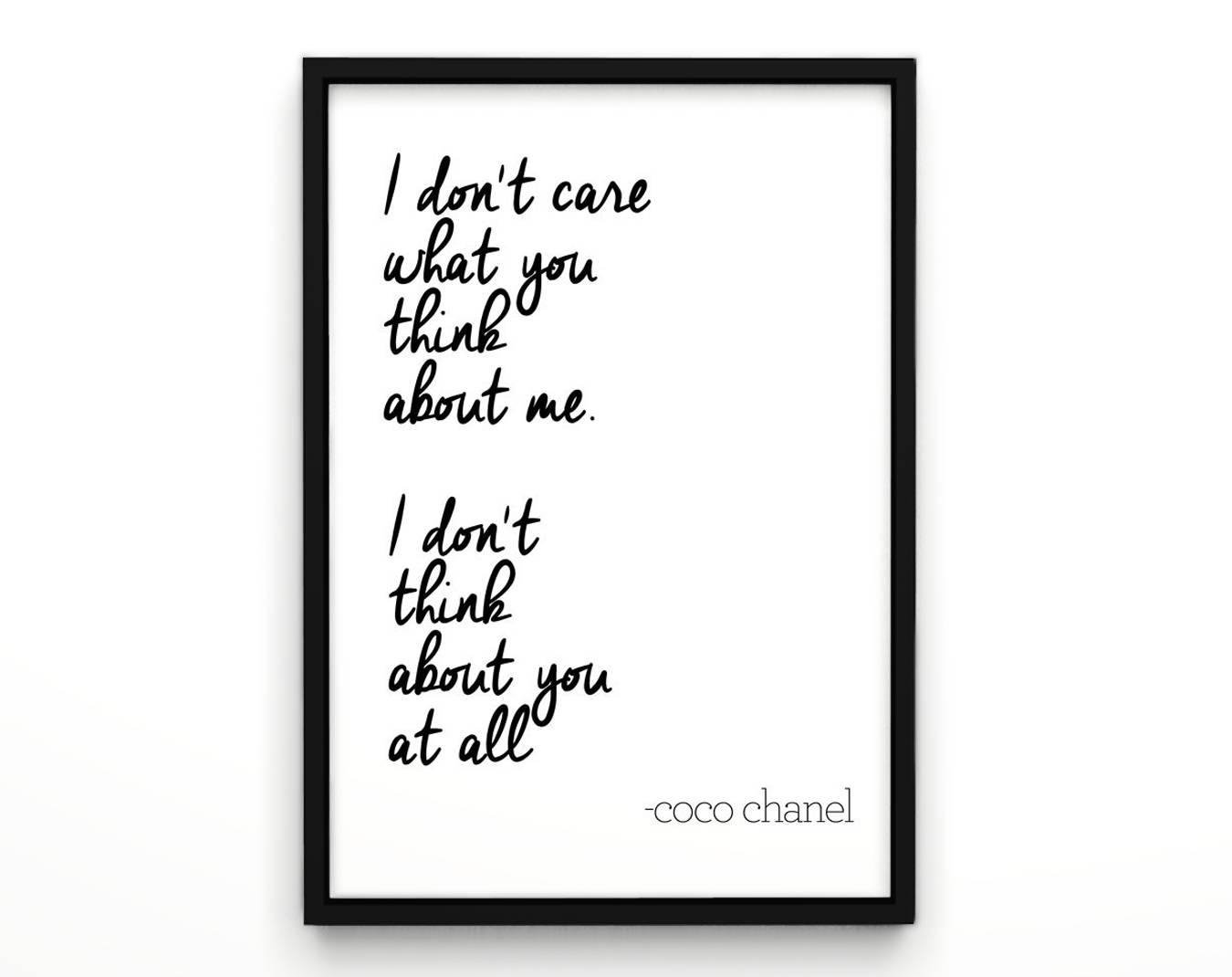 Coco Chanel Quotes Chanel Poster Wall Decor Inspirational Inside Chanel Wall Decor (Image 9 of 20)