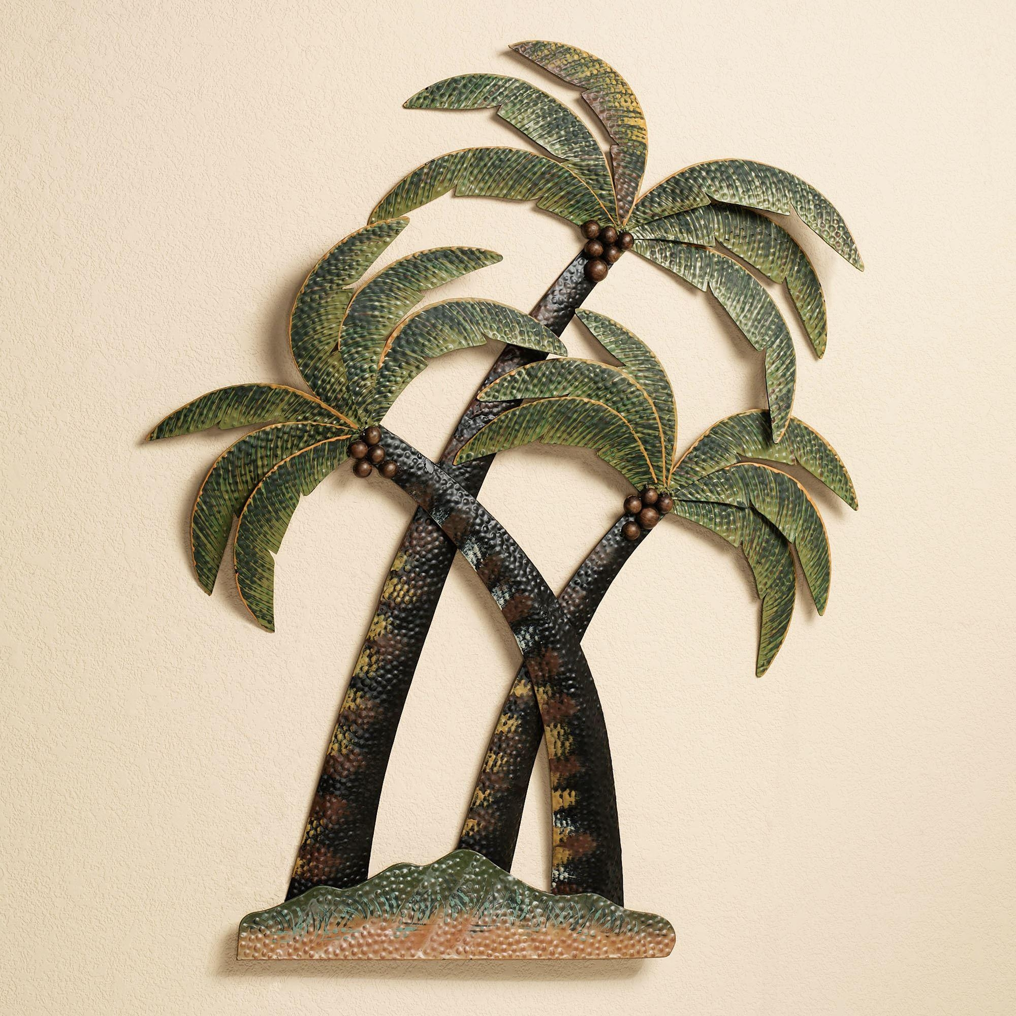 Coco Palm Tree Metal Wall Sculpture Regarding Palm Tree Metal Art (View 2 of 20)