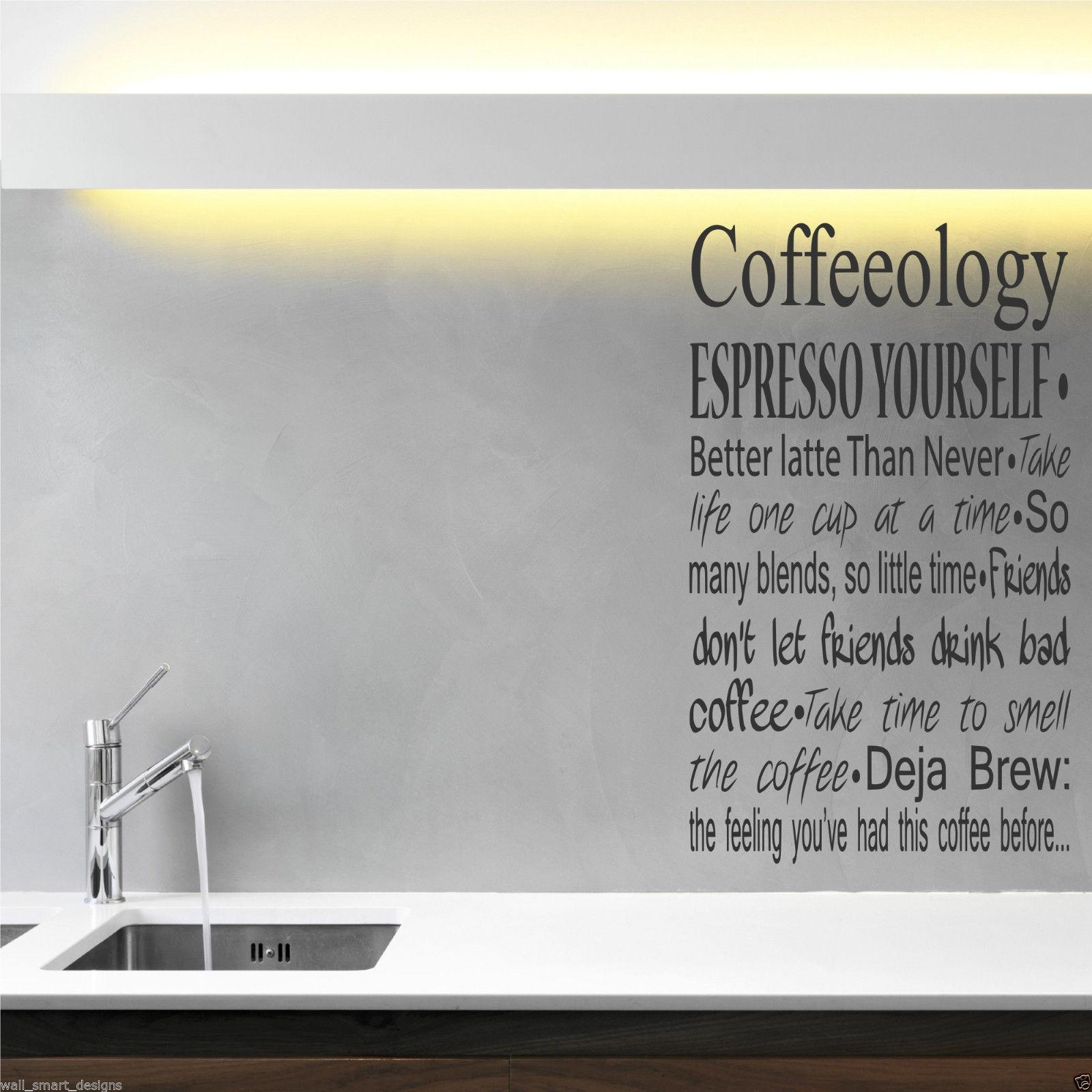 Coffee Coffeeology Kitchen Wall Art Sticker Quote Decal Mural Throughout Cafe Latte Kitchen Wall Art (View 16 of 20)