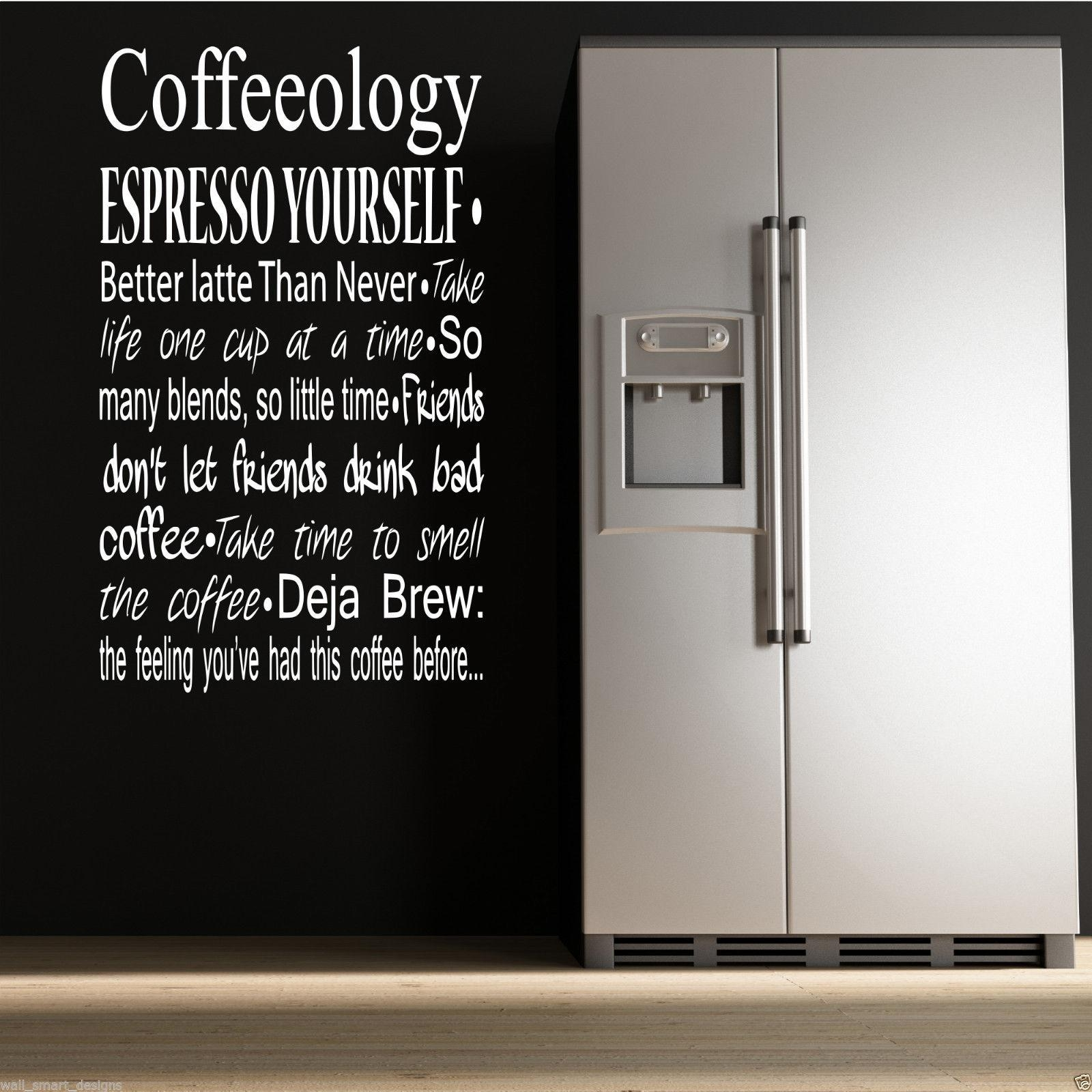 Coffee Coffeeology Kitchen Wall Art Sticker Quote Decal Mural With Regard To Cafe Latte Kitchen Wall Art (View 7 of 20)