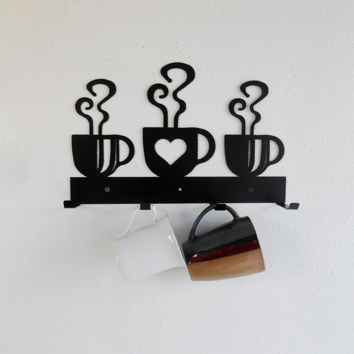 Coffee Cup Mug Rack / Four Cup Holder / Metal Wall Hanging / With Regard To Metal Coffee Cup Wall Art (View 5 of 20)
