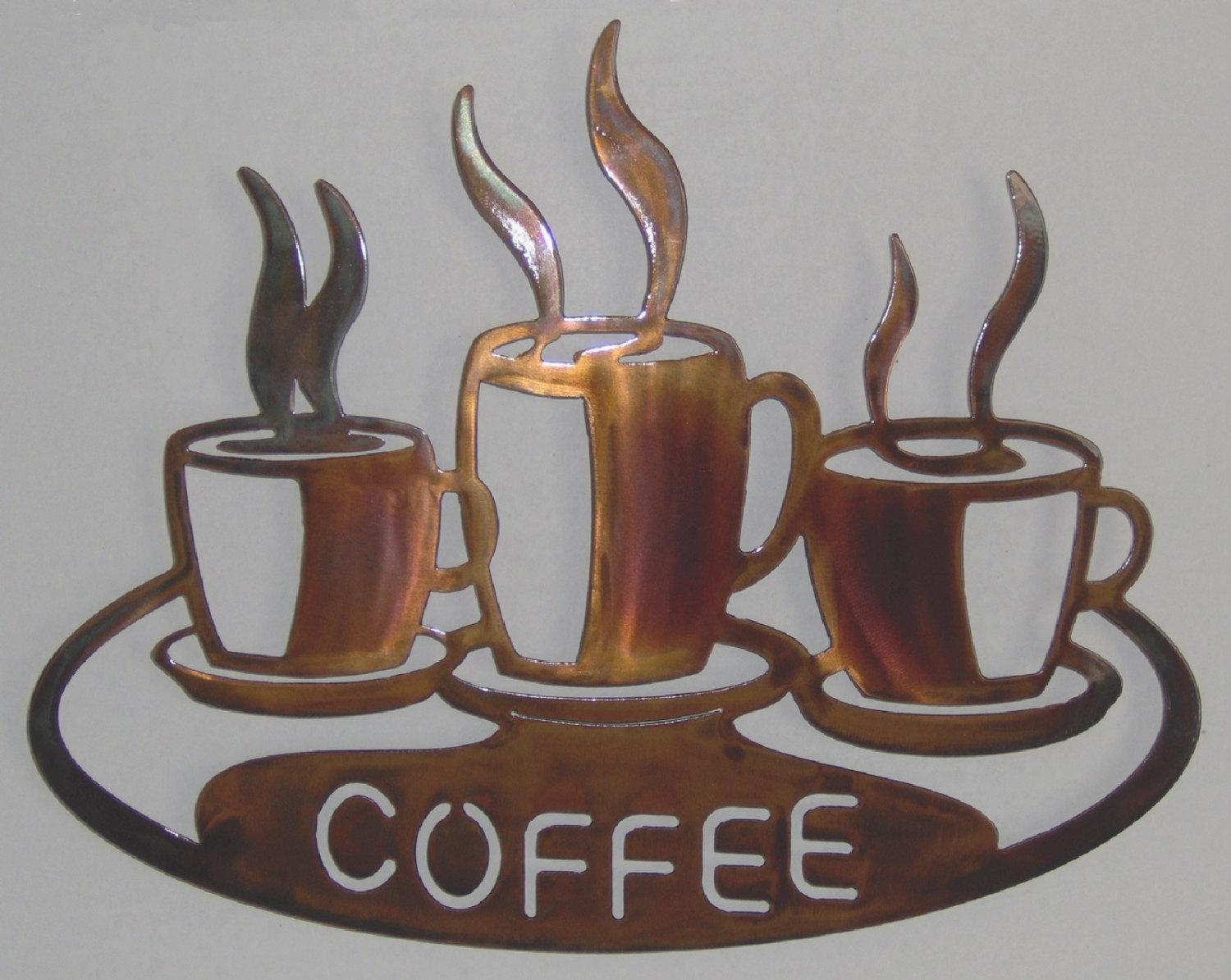 Coffee Cups On Platter Metal Wall Art Within Metal Coffee Cup Wall Art (Image 7 of 20)