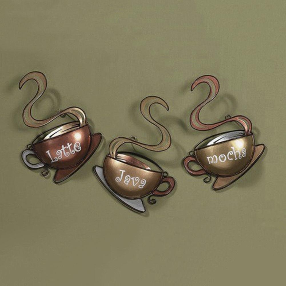 Coffee House Cup Design Mug Latte Java Mocha Metal Wall Art Home With Regard To Coffee Theme Metal Wall Art (View 1 of 20)